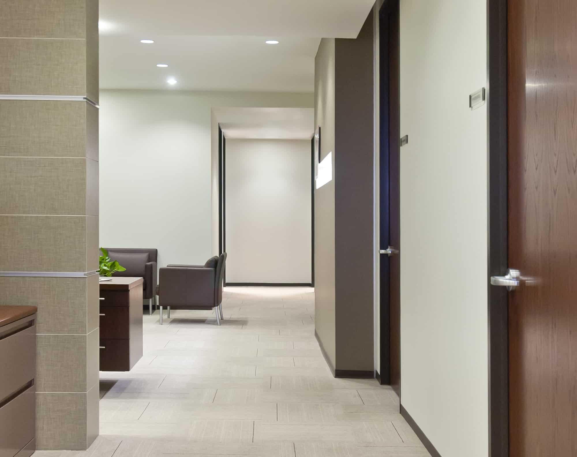 Neutral toned corporate interiors executive suite
