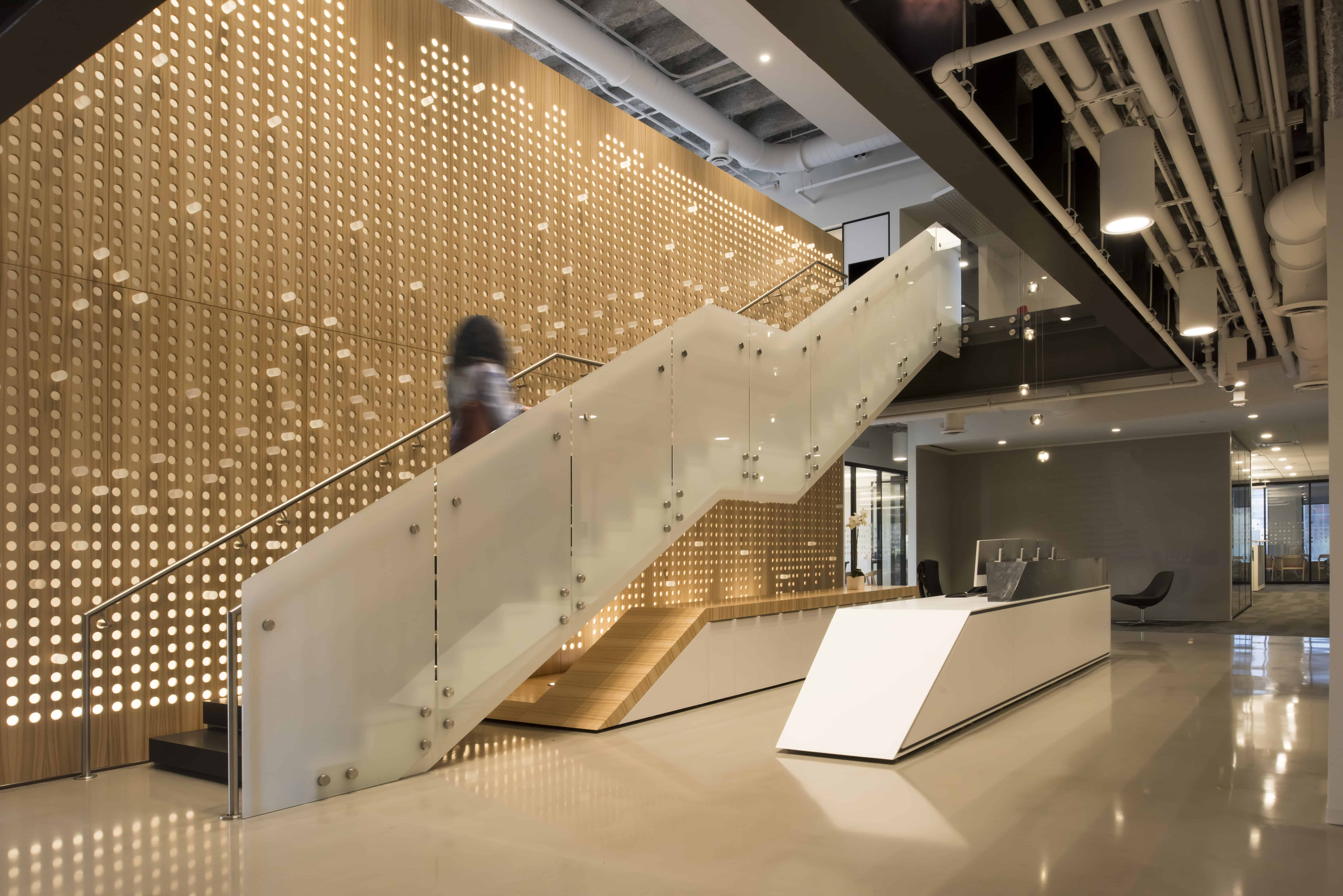 modern glass stair