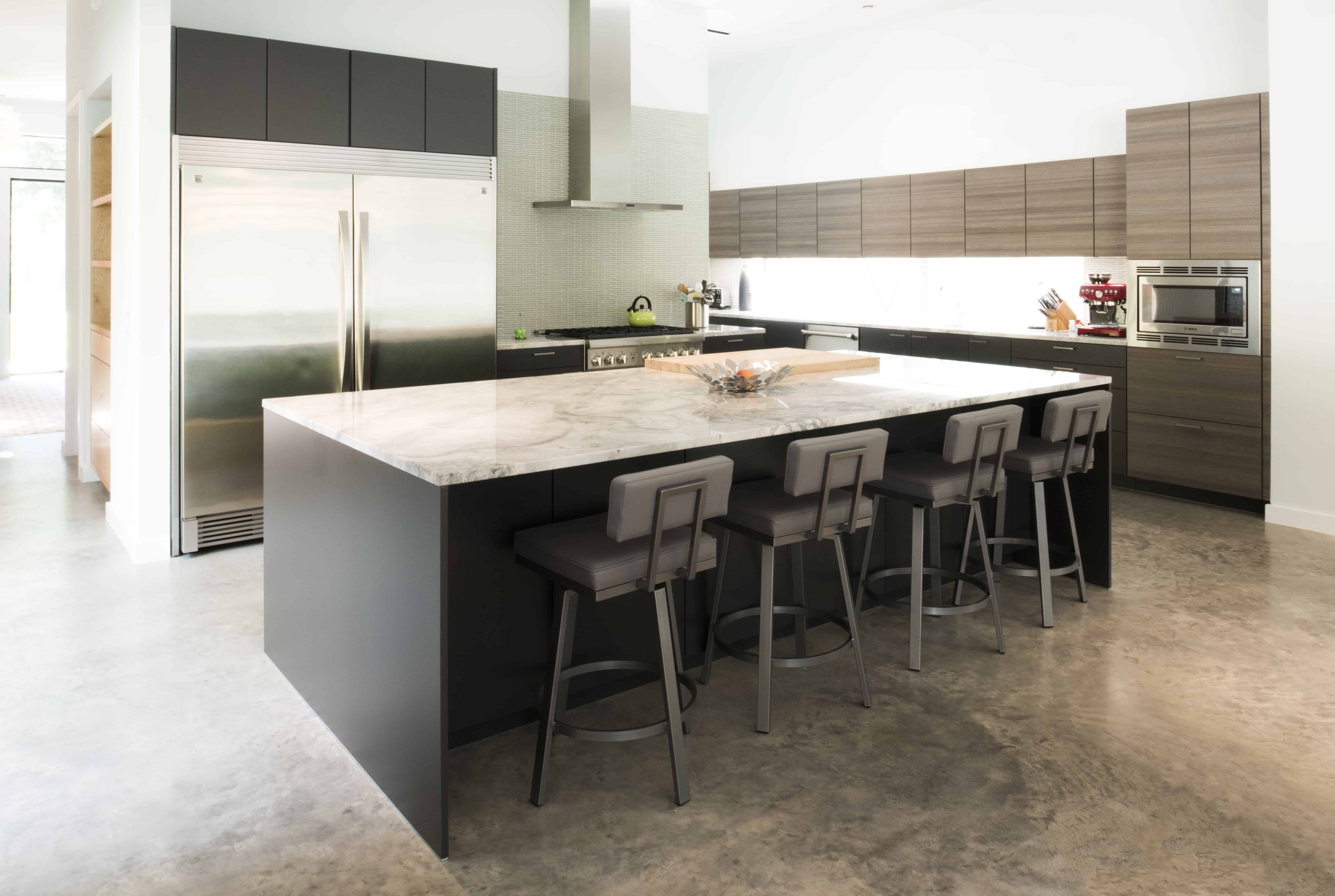 Garden Oaks Modern kitchen with natural quartzite island