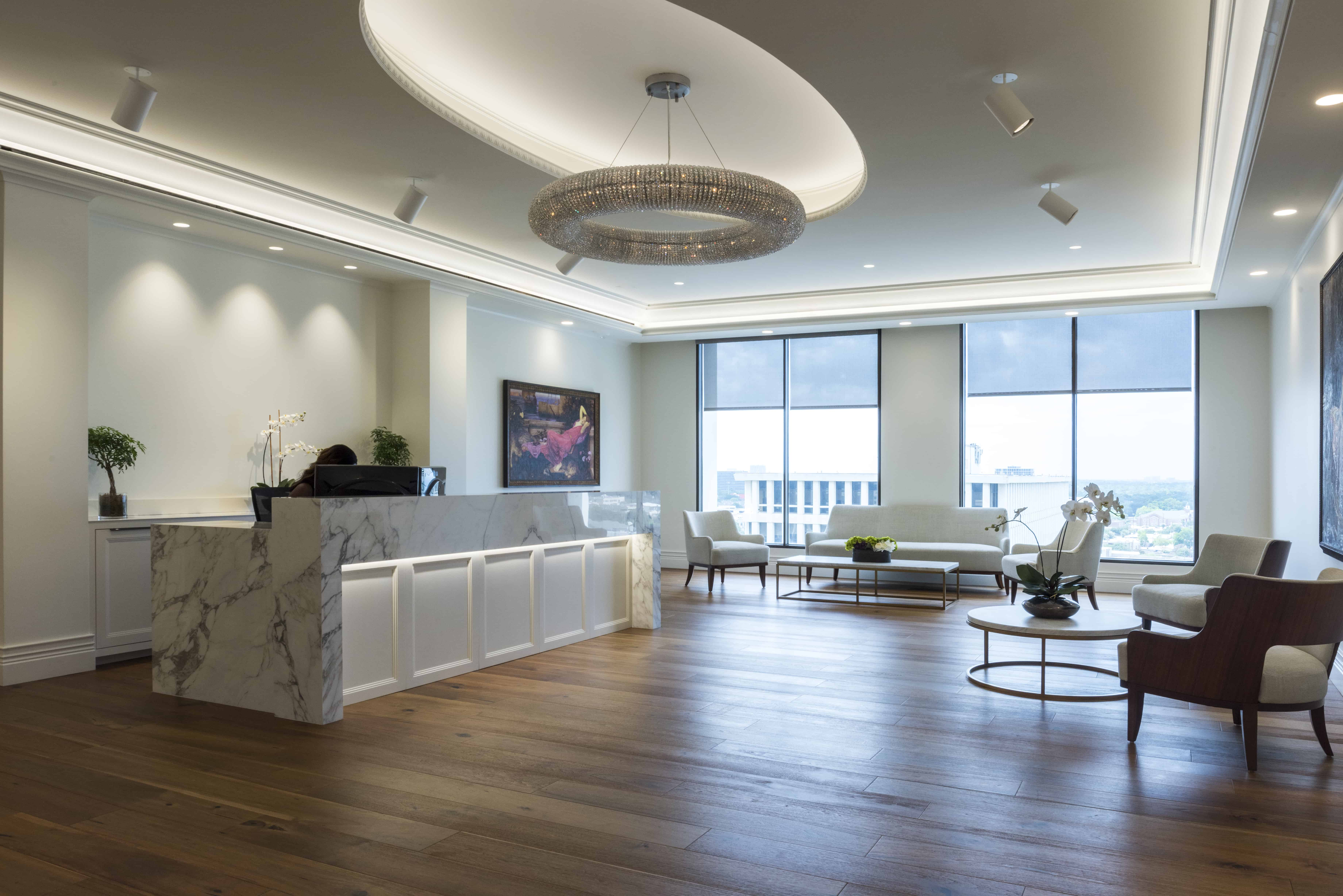 clean lines and classical corporate reception area