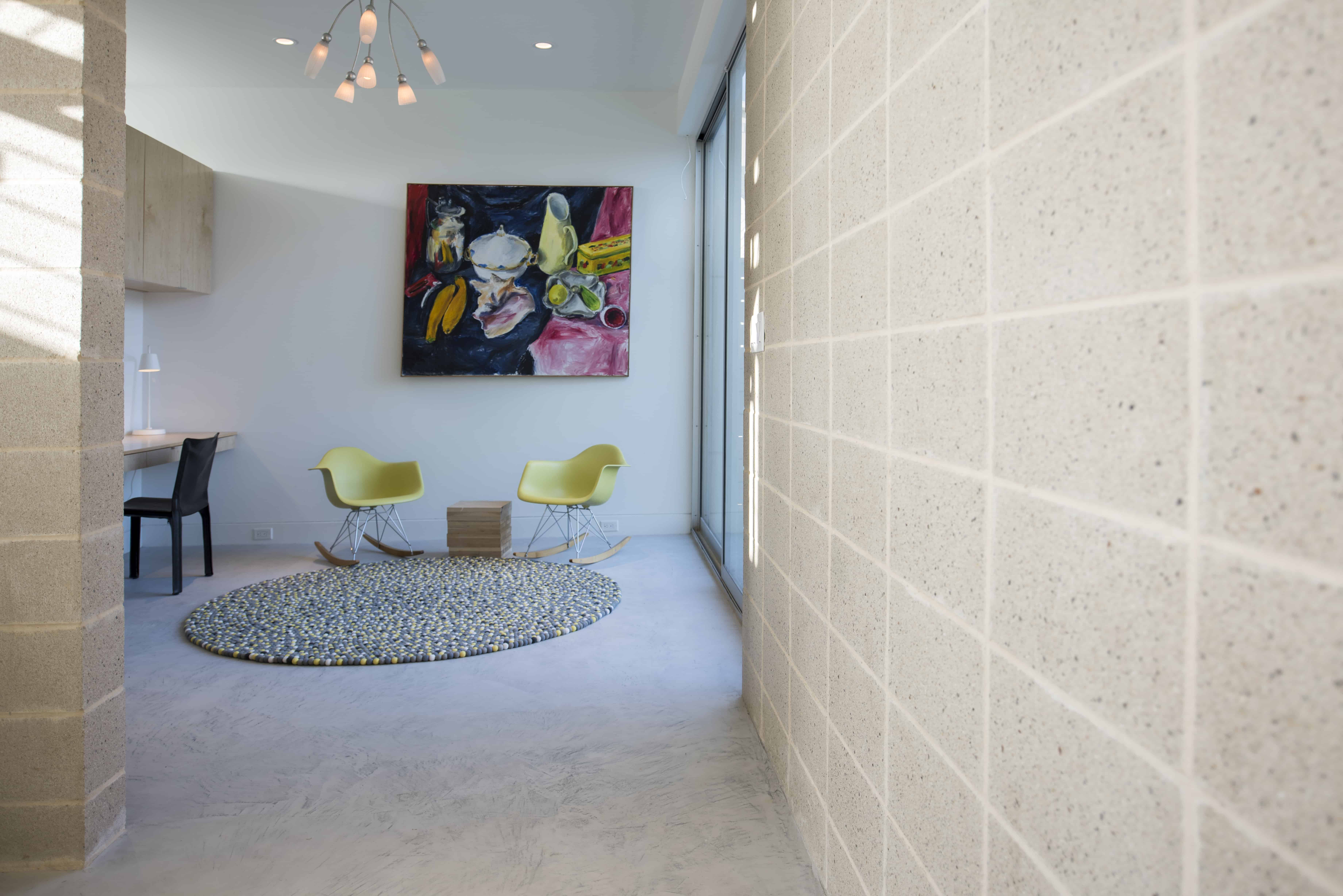 modern home guest room and CMU wall