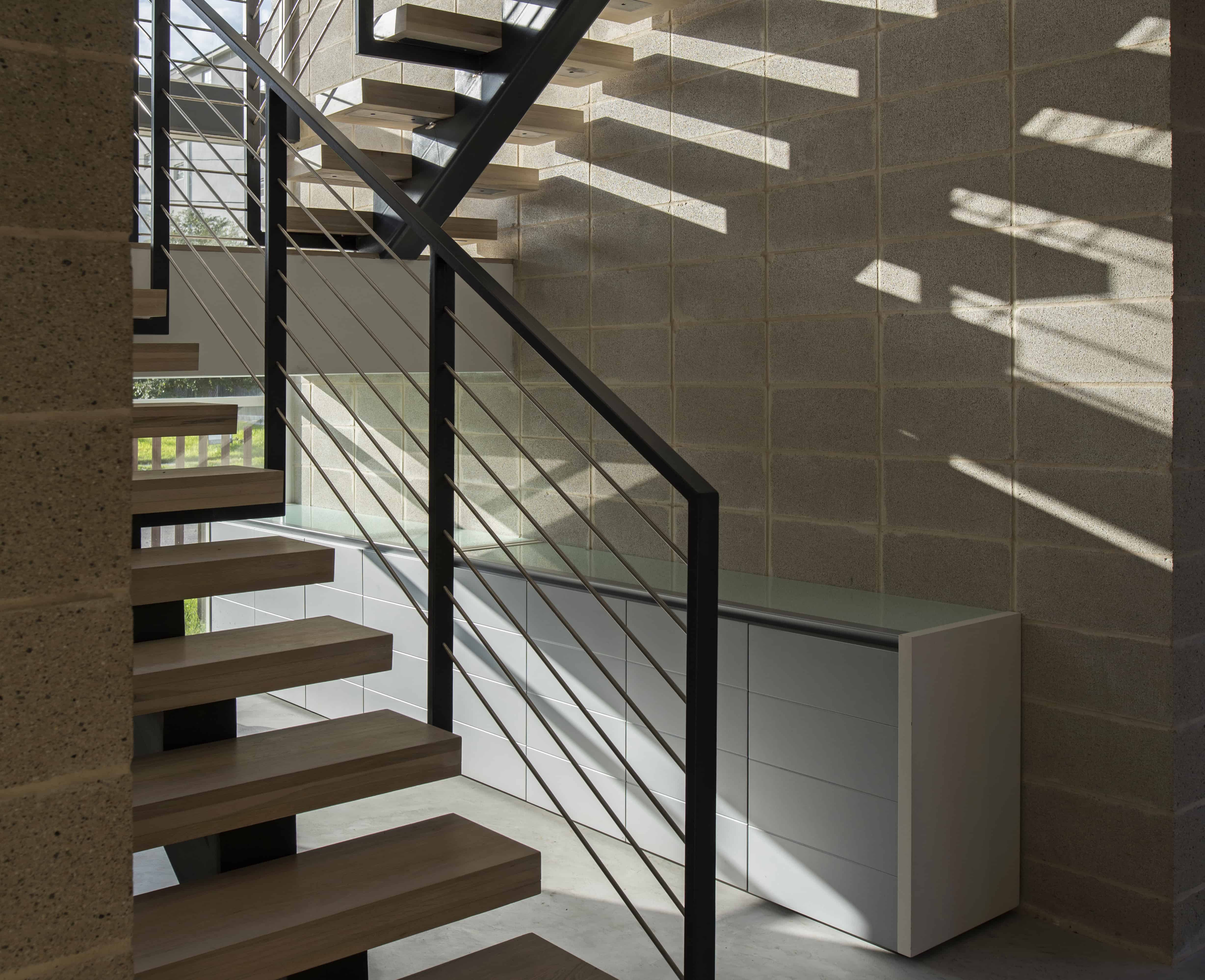 modern home open stair steel and wood
