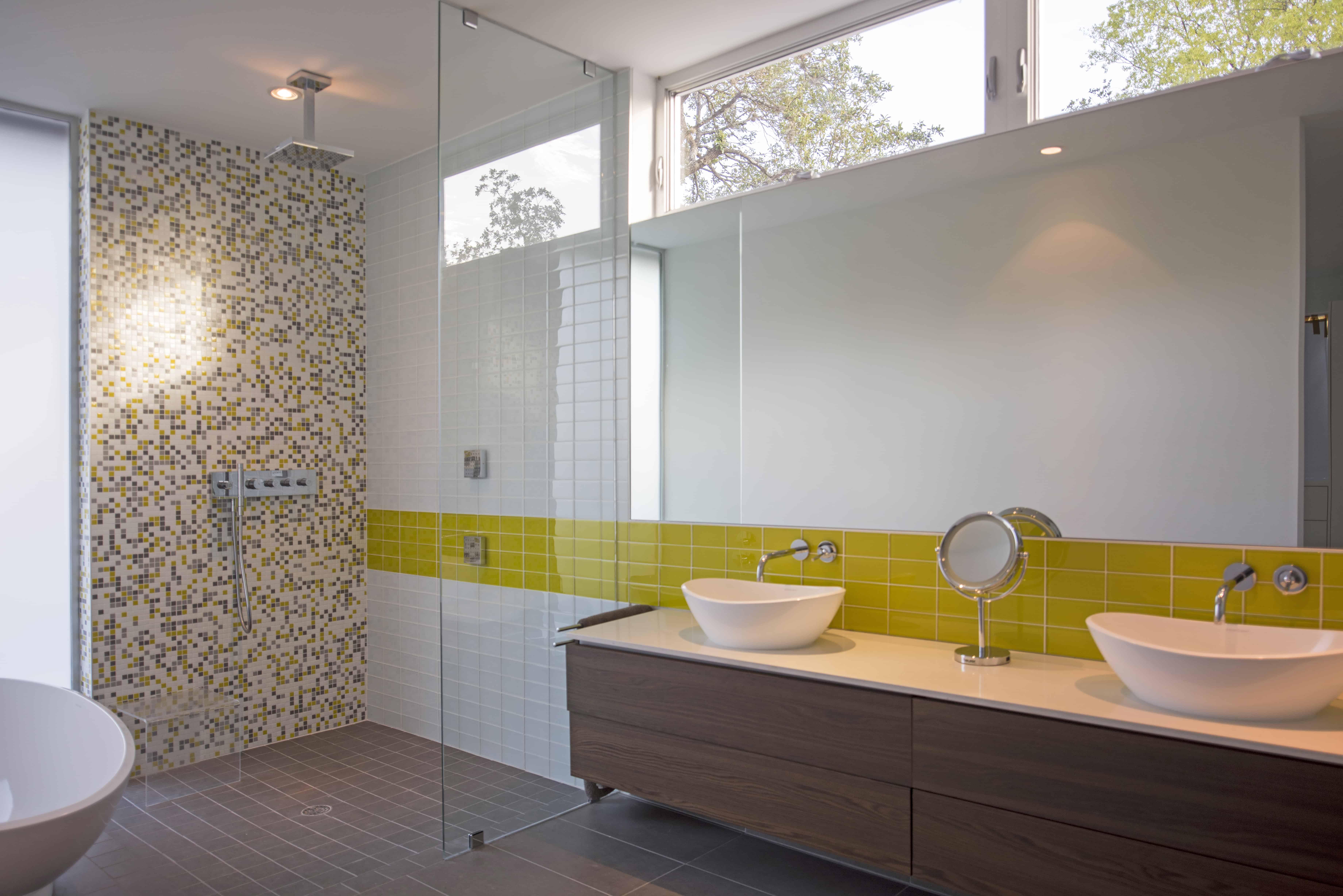 Modern Bath Yellow Tile and walnut