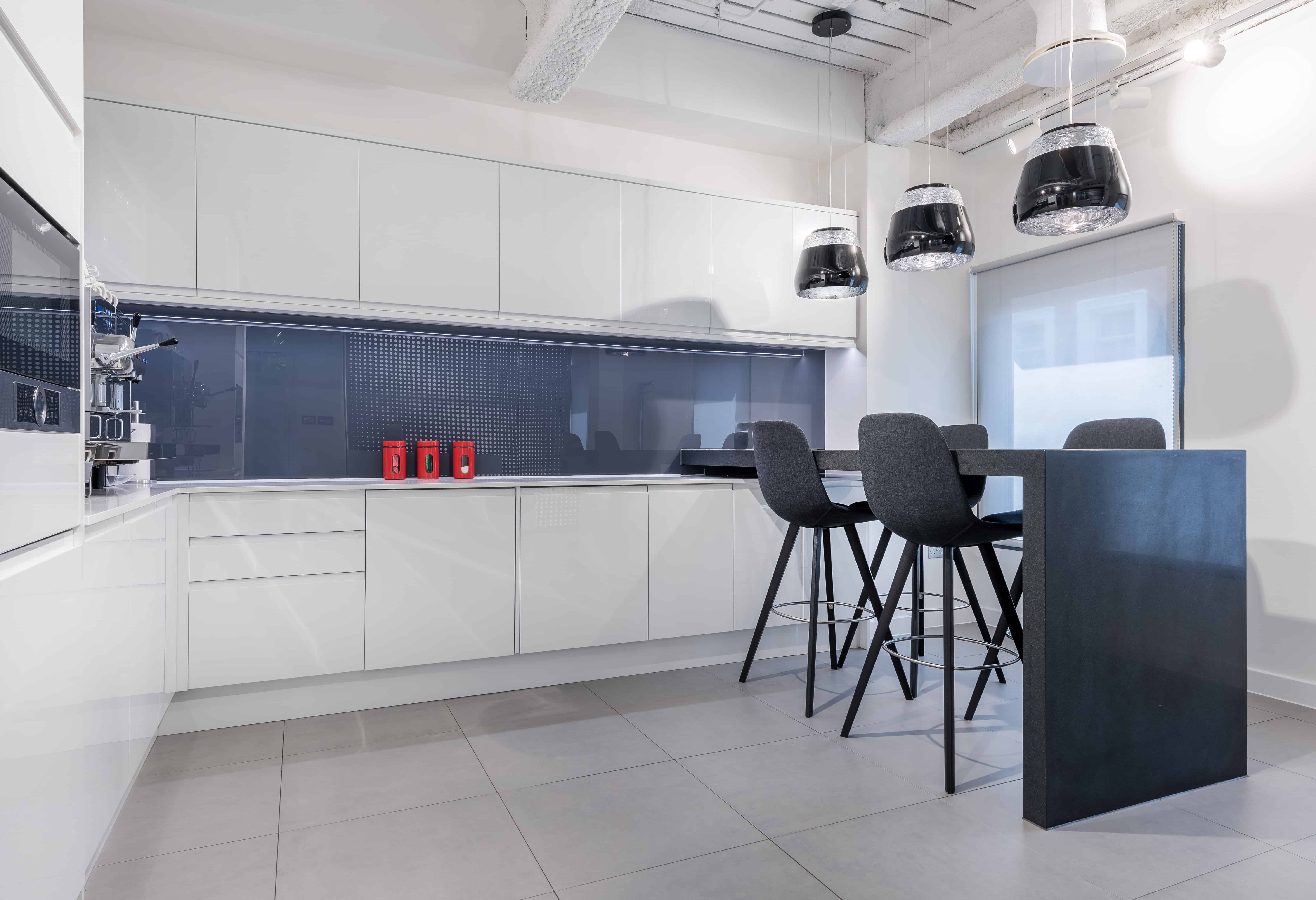 white coffee bar in interior office space