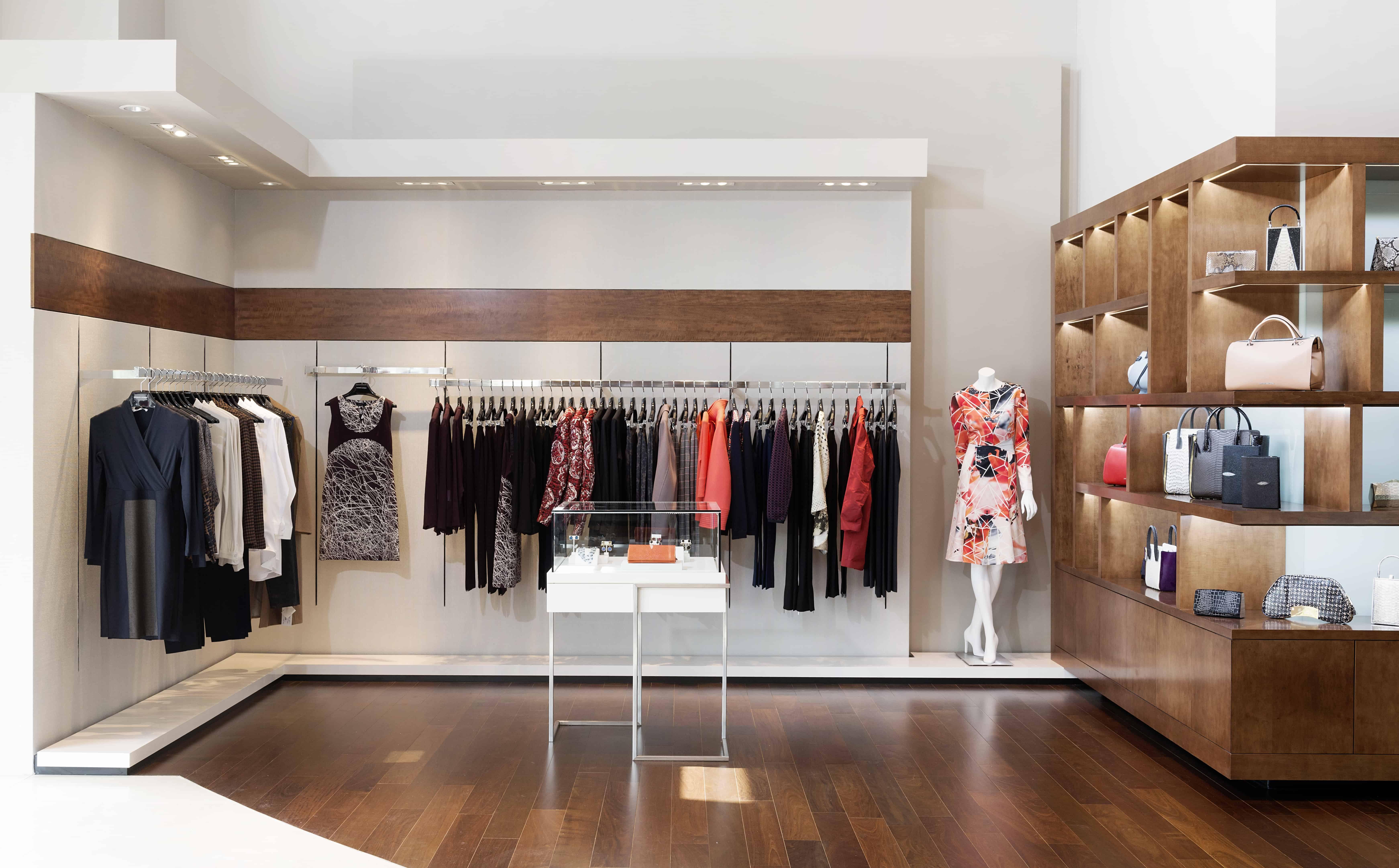 luxury retail design with custom handbag display