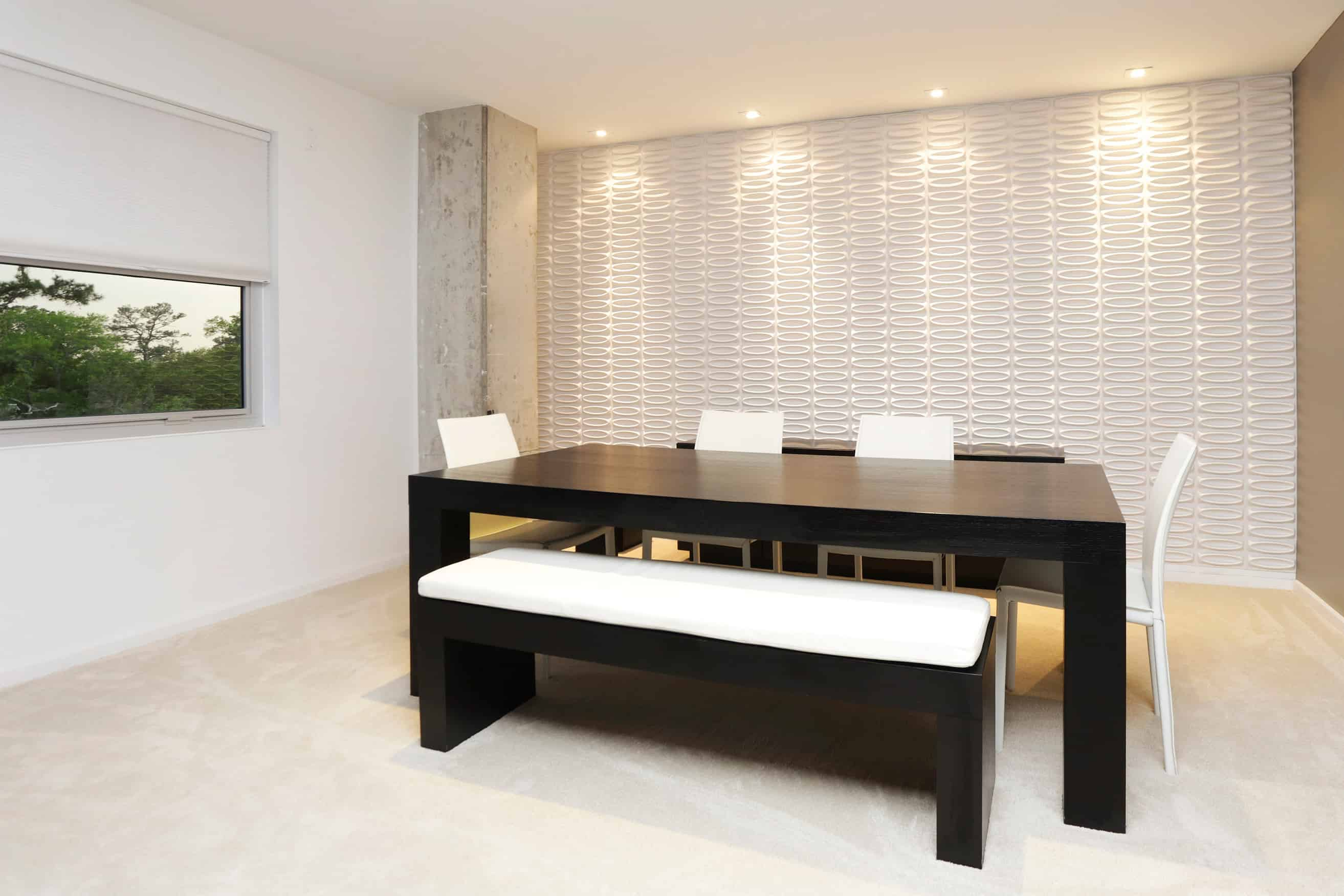 Memorial Luxury Loft bedroom industrial dining and textured wall tile