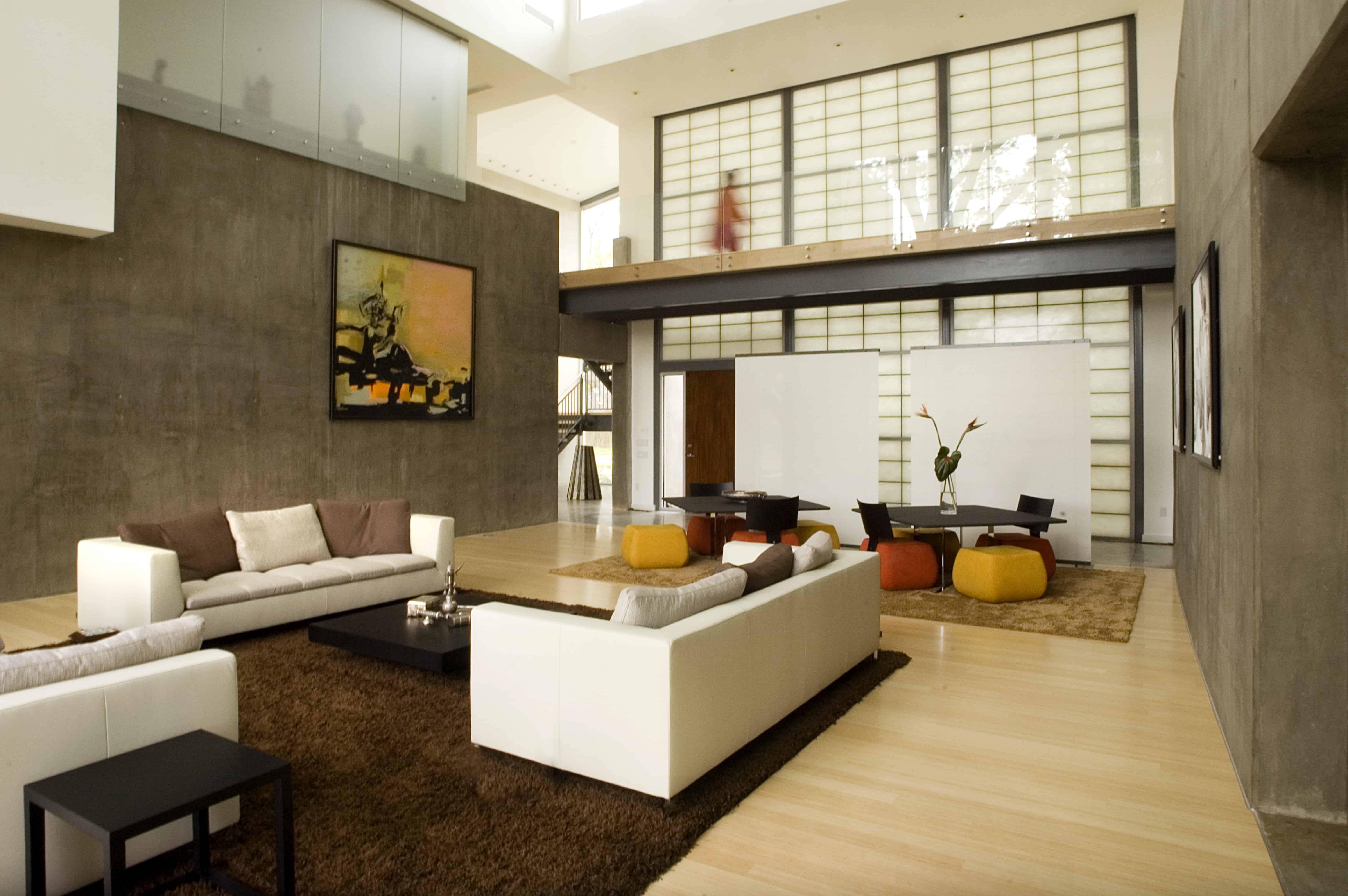 indian modern home great room with balcony
