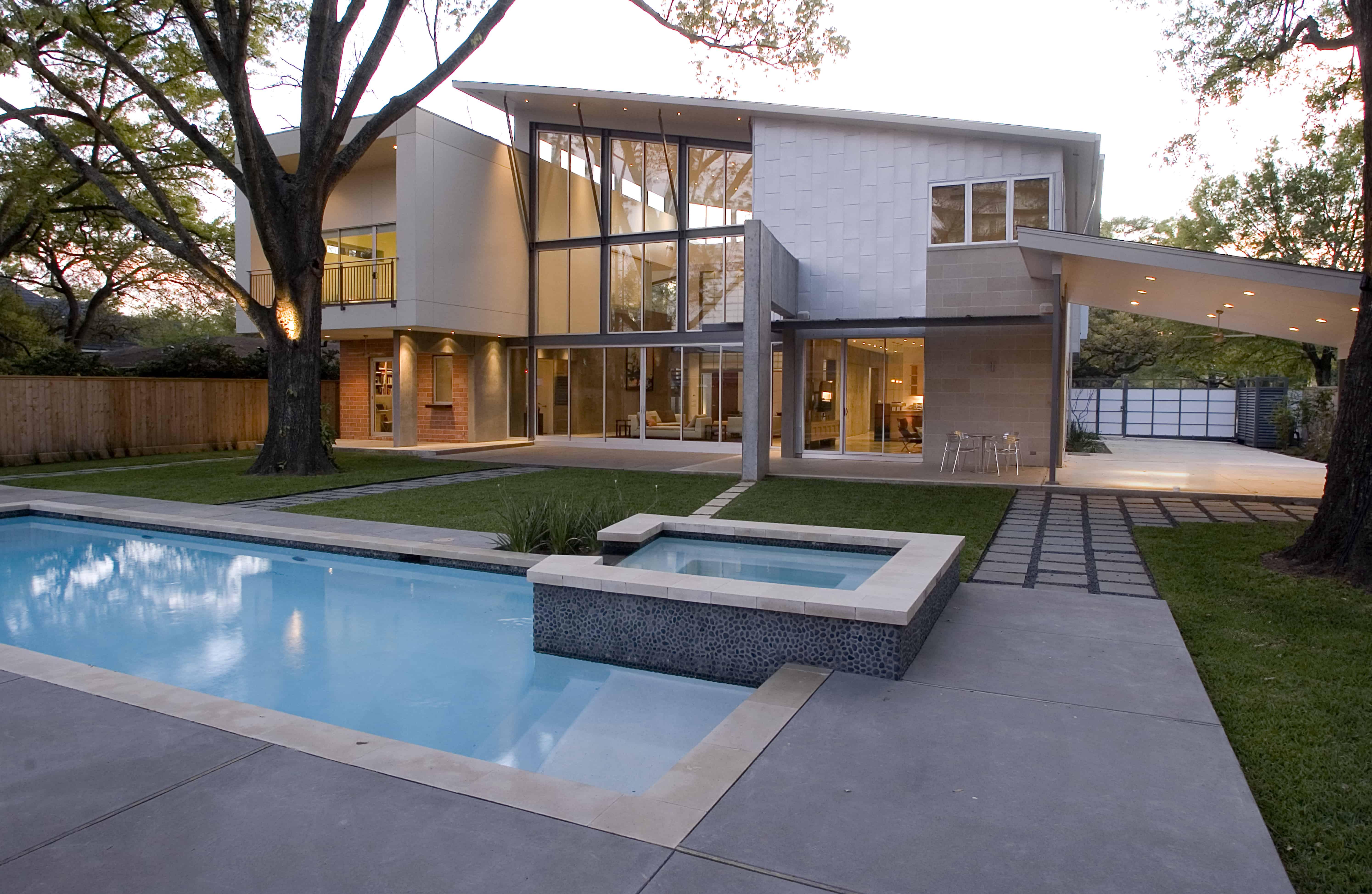 Indian modern home backyard and pool