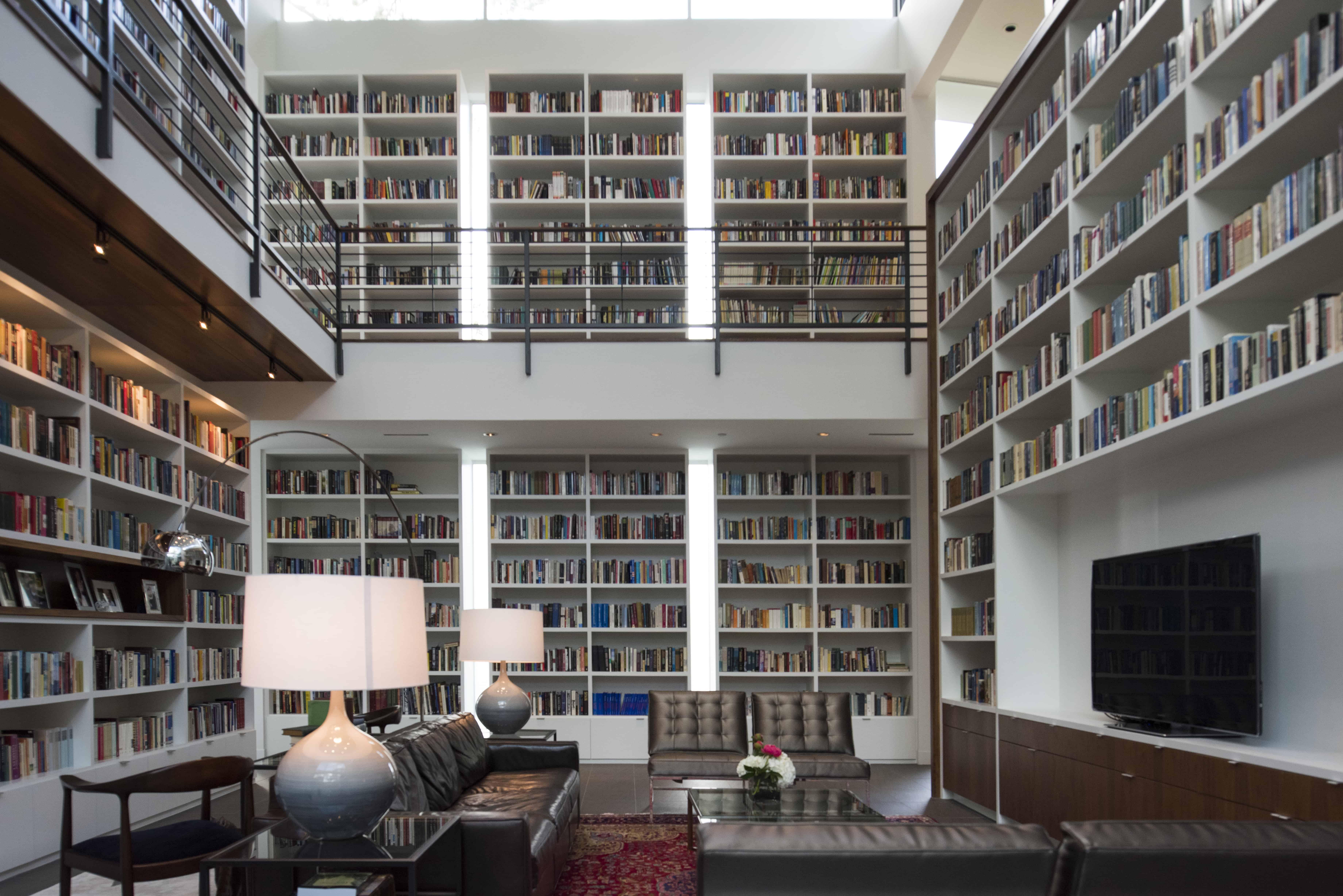 Hunters Creek Memorial Modern Custom Home library with media seating