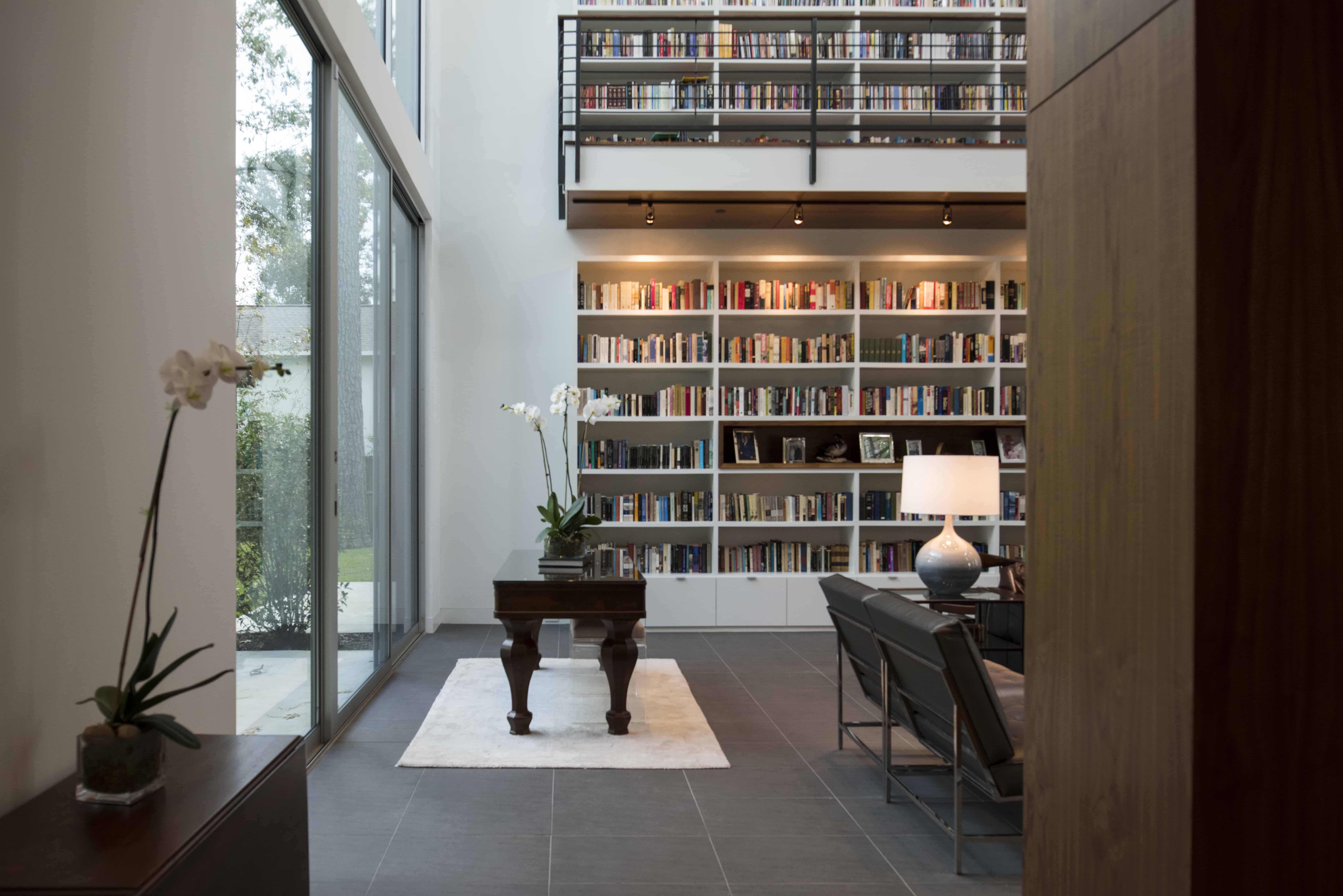 Hunters Creek Memorial Modern Custom Home library