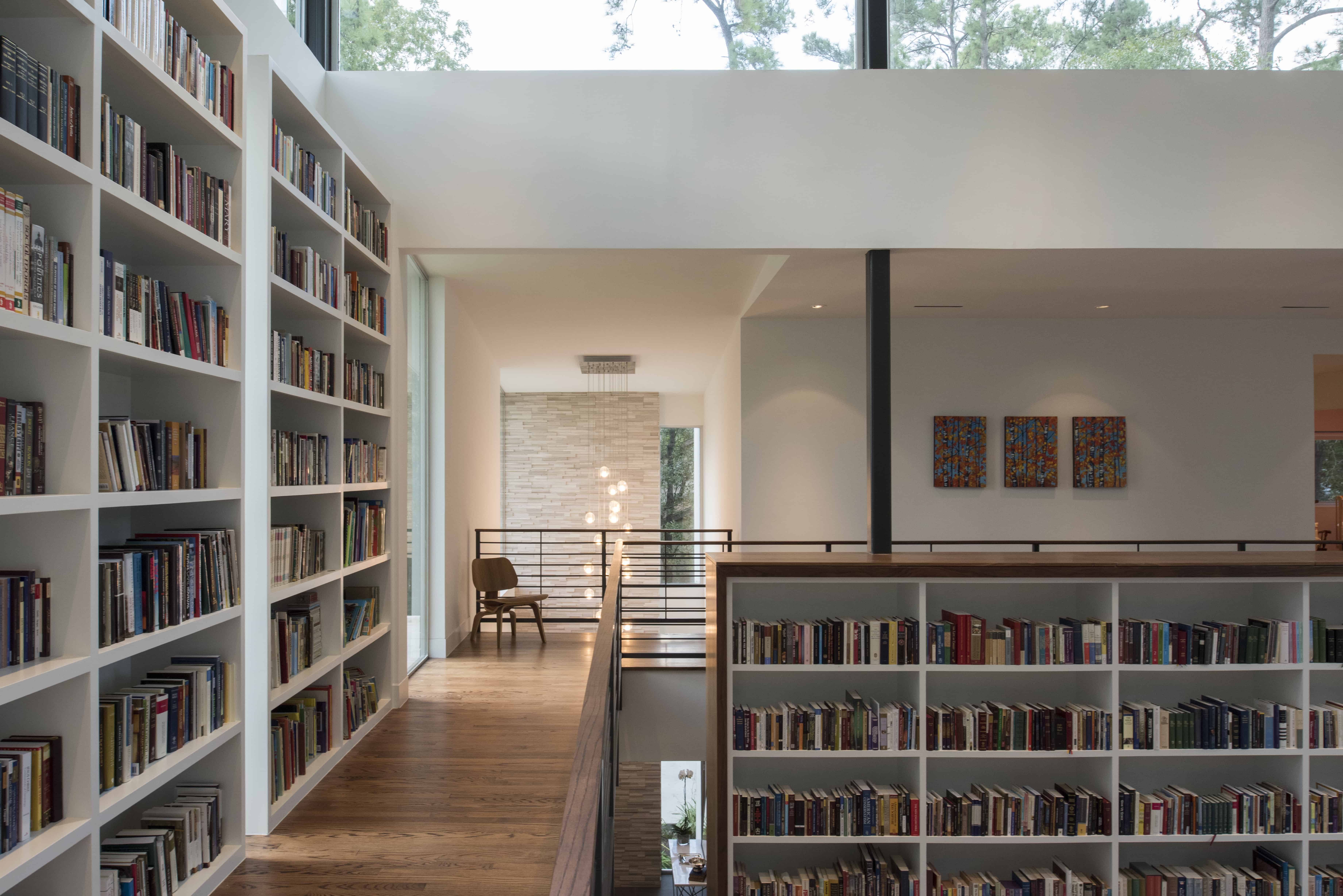 Hunters Creek Memorial Modern Custom Home bookcase library