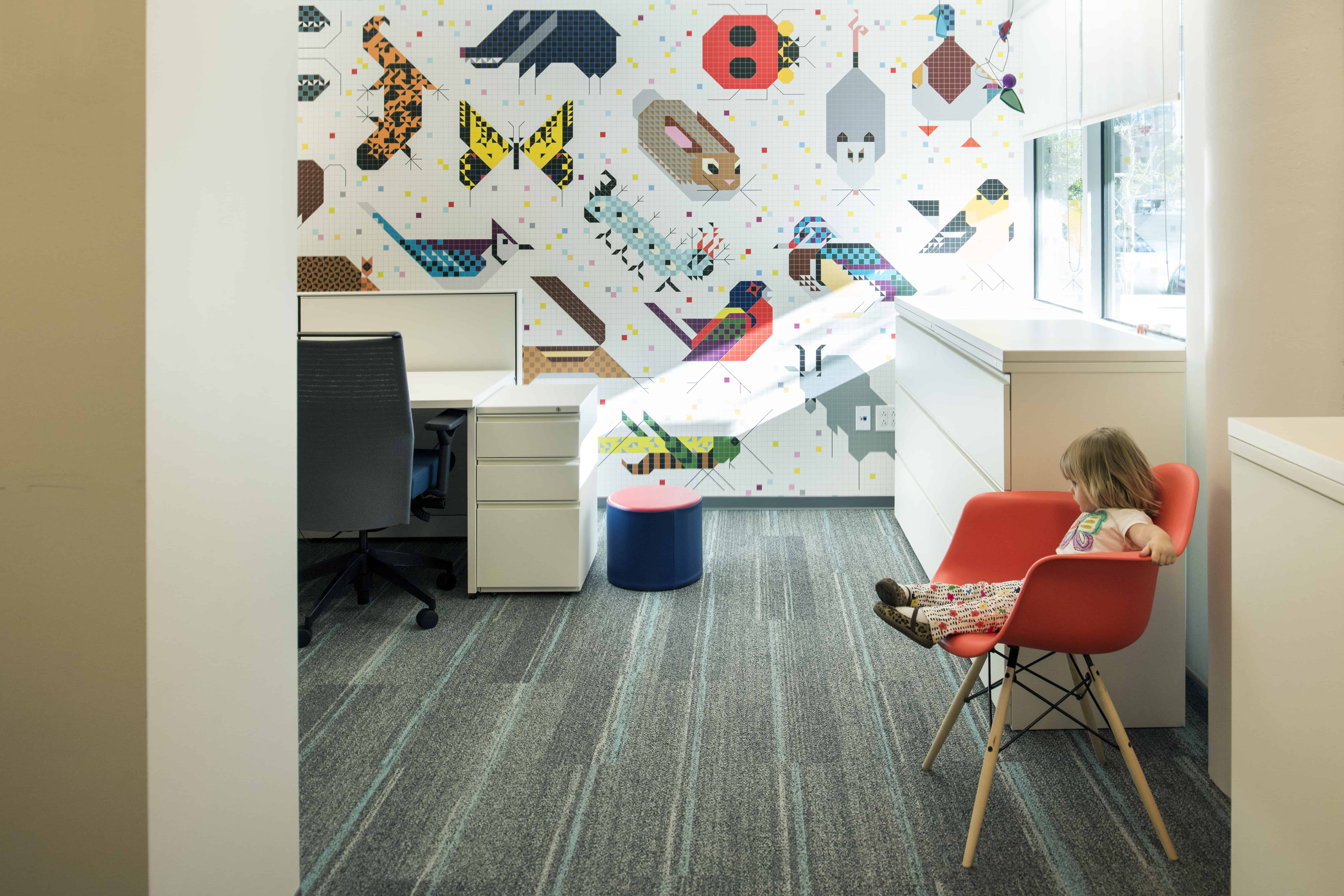 Graphic mural at interior office space