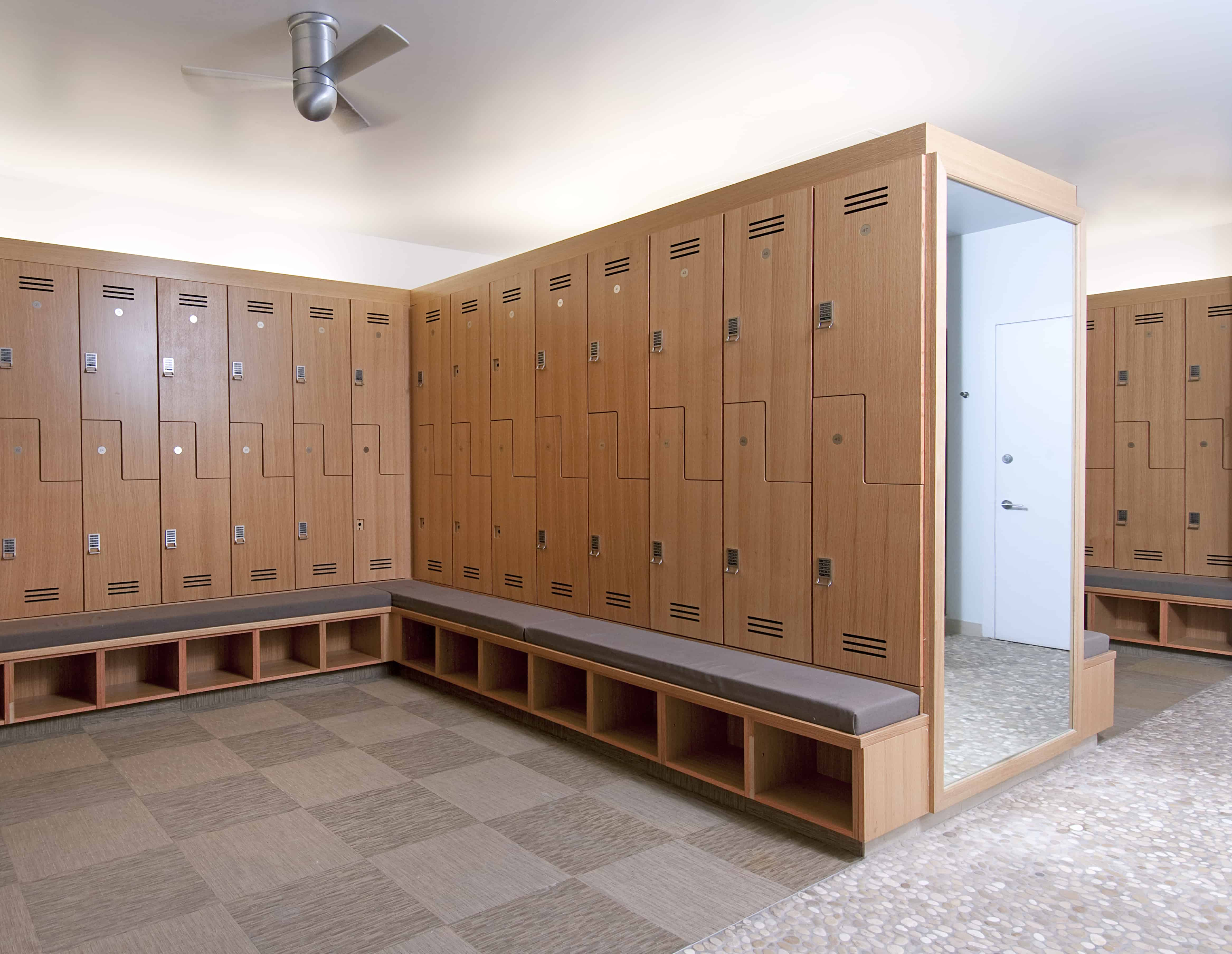 locker room finishes with spa like feel
