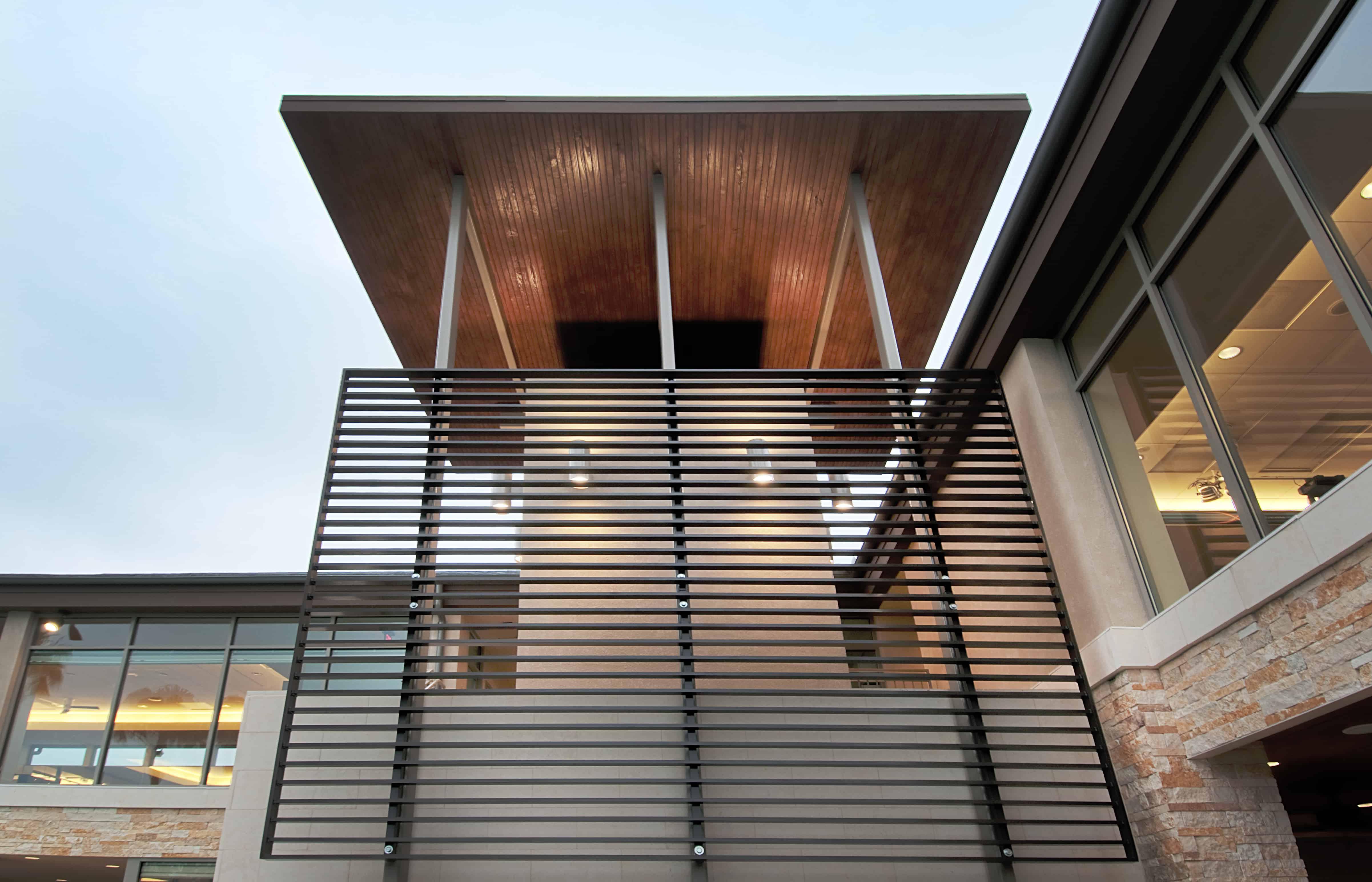 hospitality design custom metal screen at facade