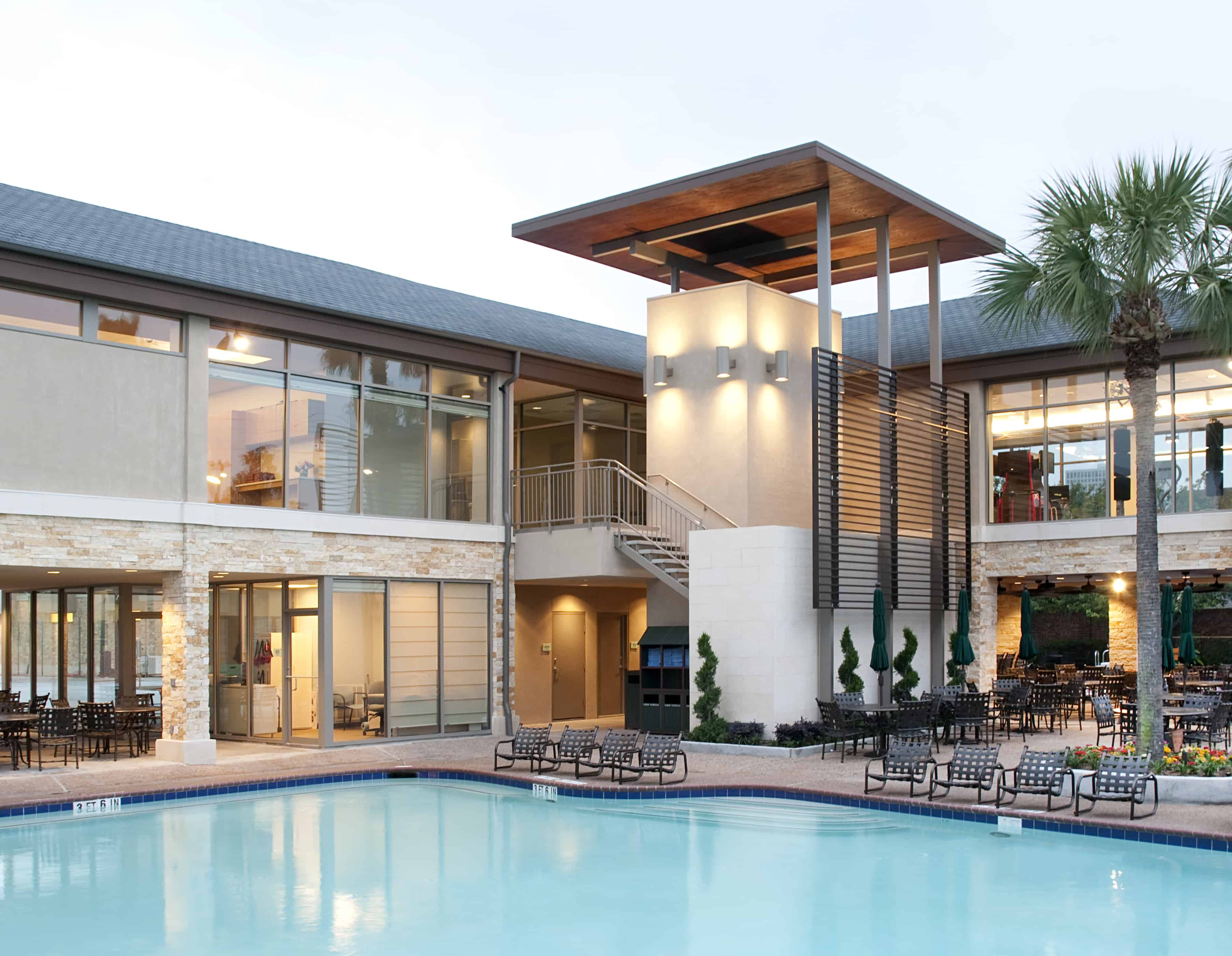 Hospitality Design Facade at Pool with metal screen