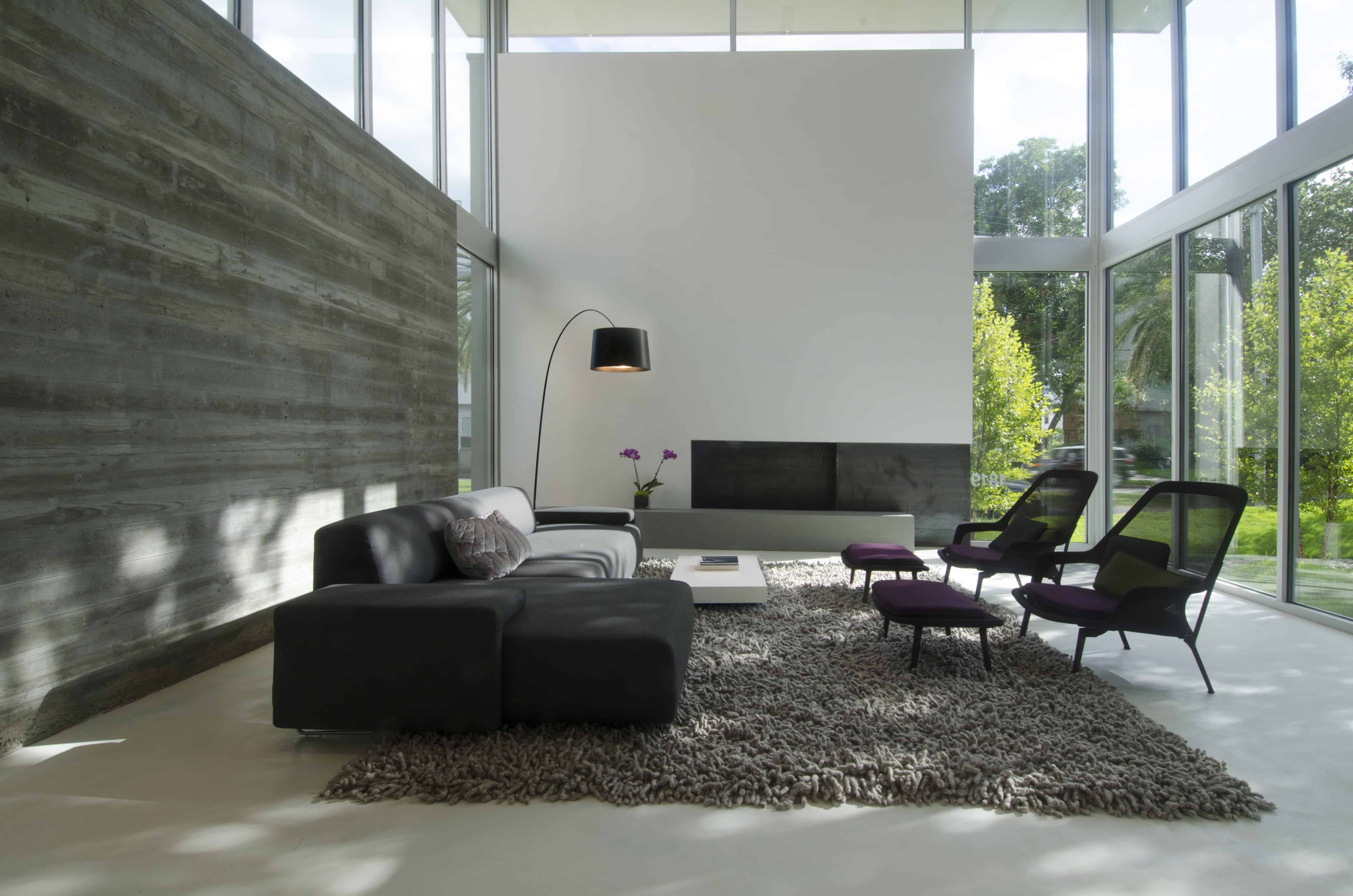 Sleek Houston Modern Home living with cast concrete