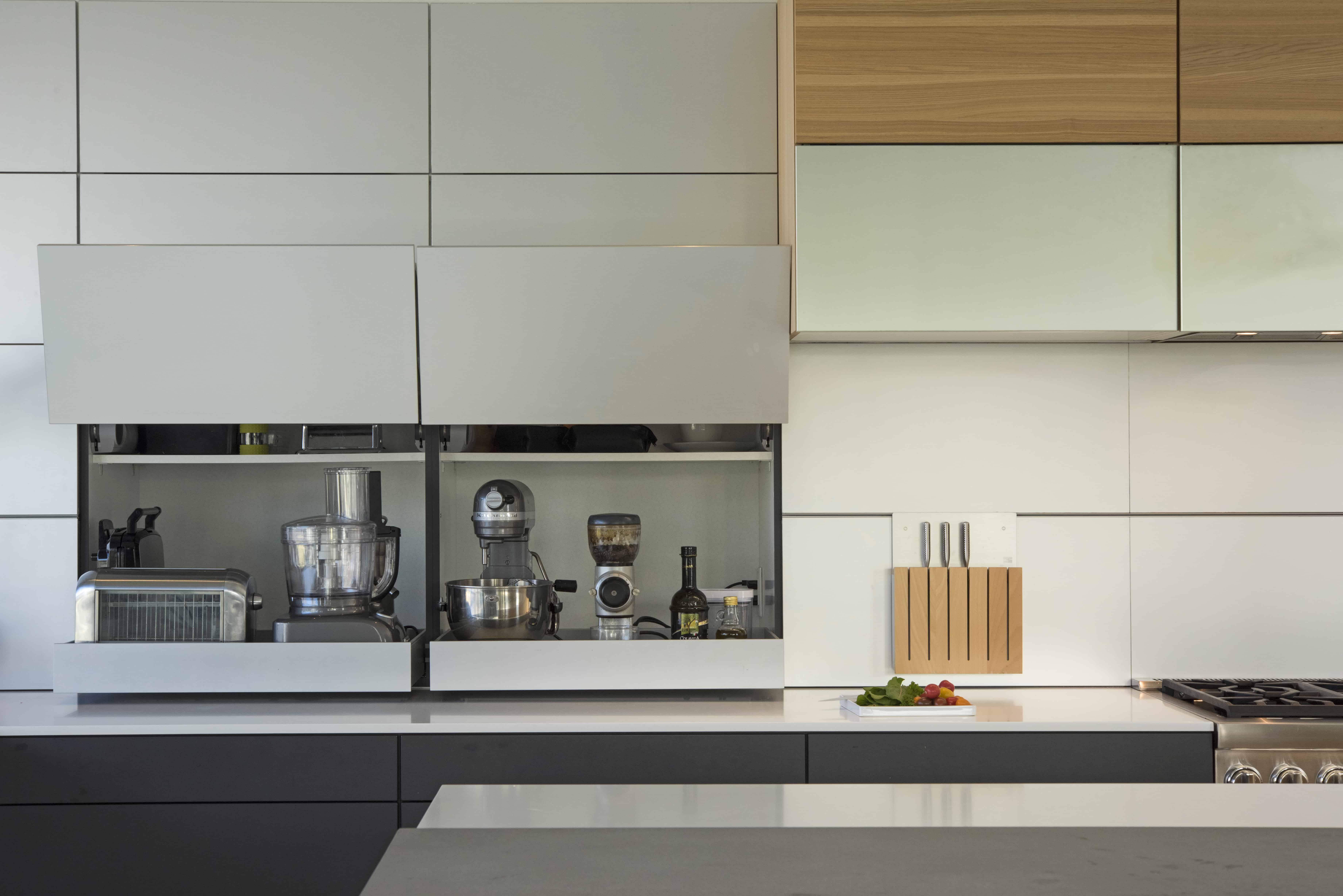 Modern Appliance Garage Kitchen Aluminum backsplash