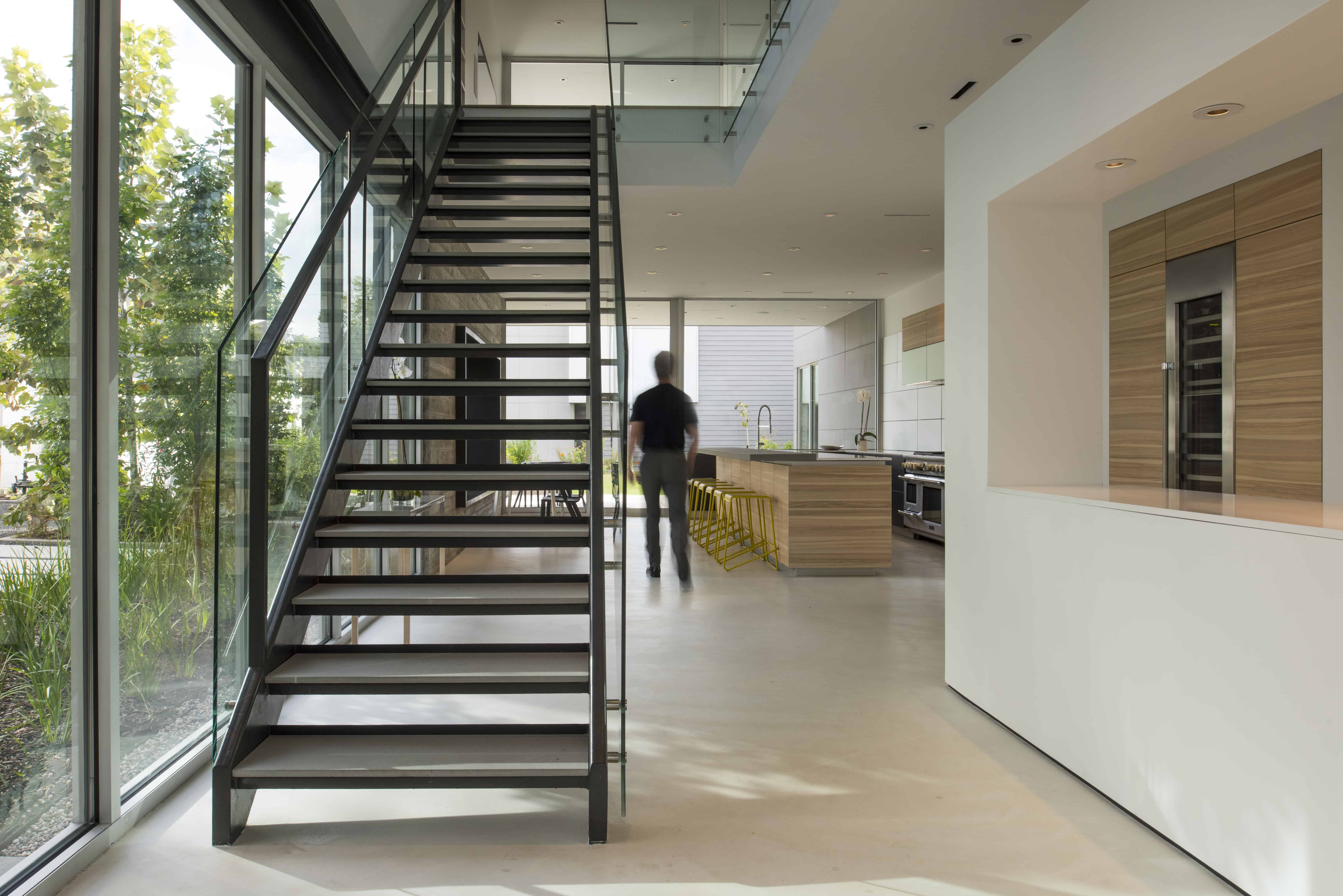 Modern Residential open steel and glass Stair
