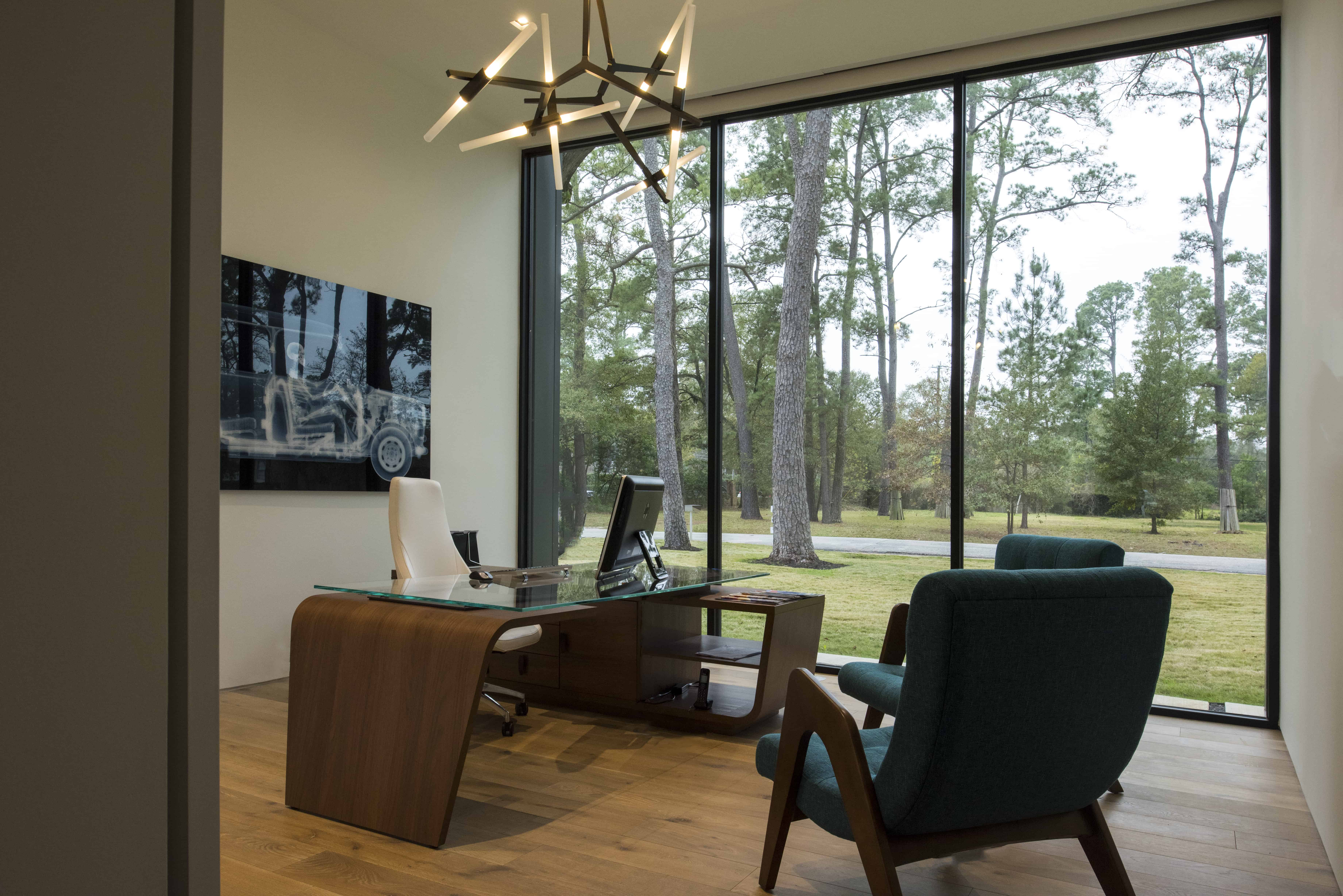 Warm Modern Home Piney Point Memorial Houston office study