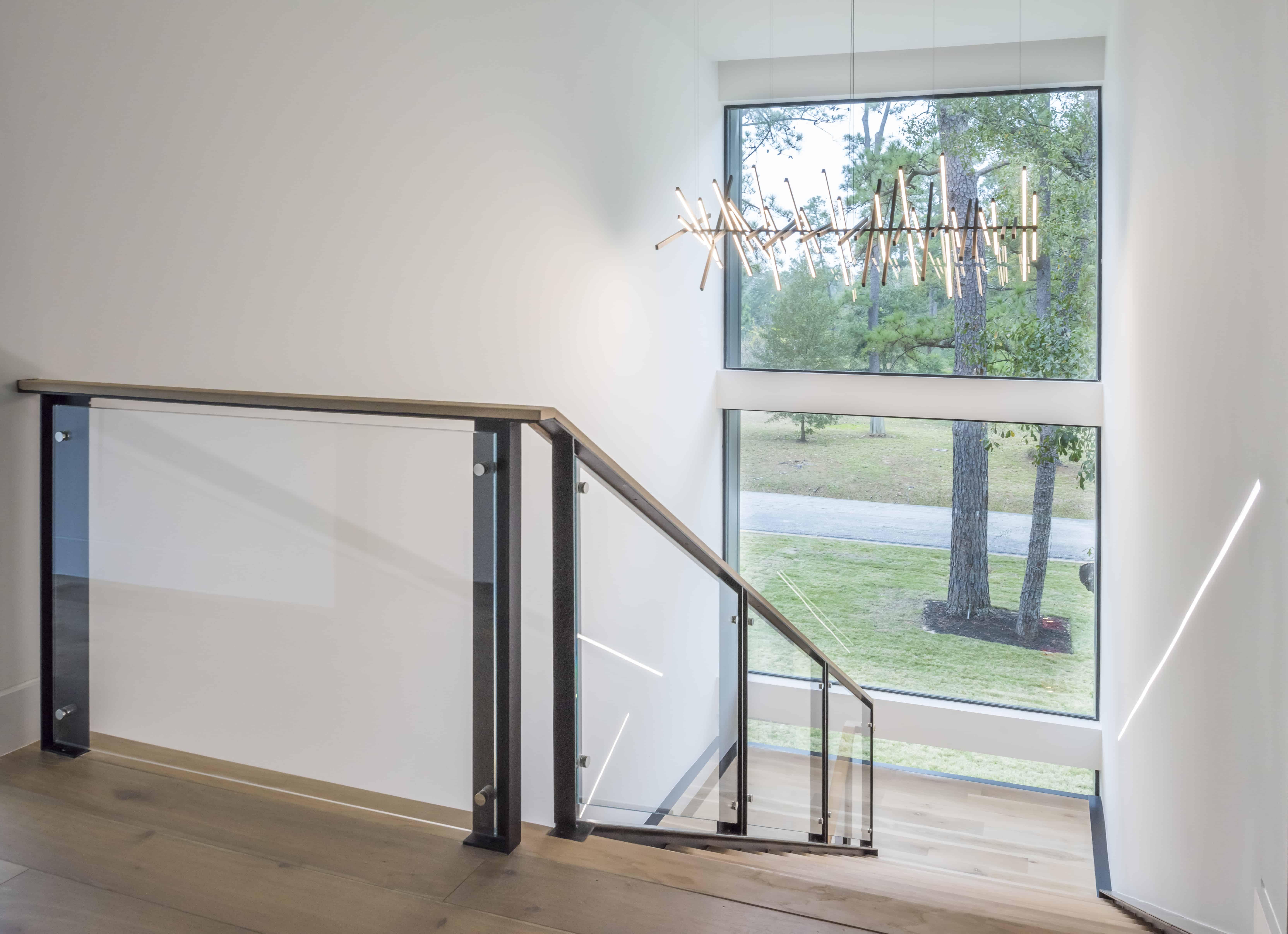 Warm Modern Home Piney Point Memorial Houston stair.