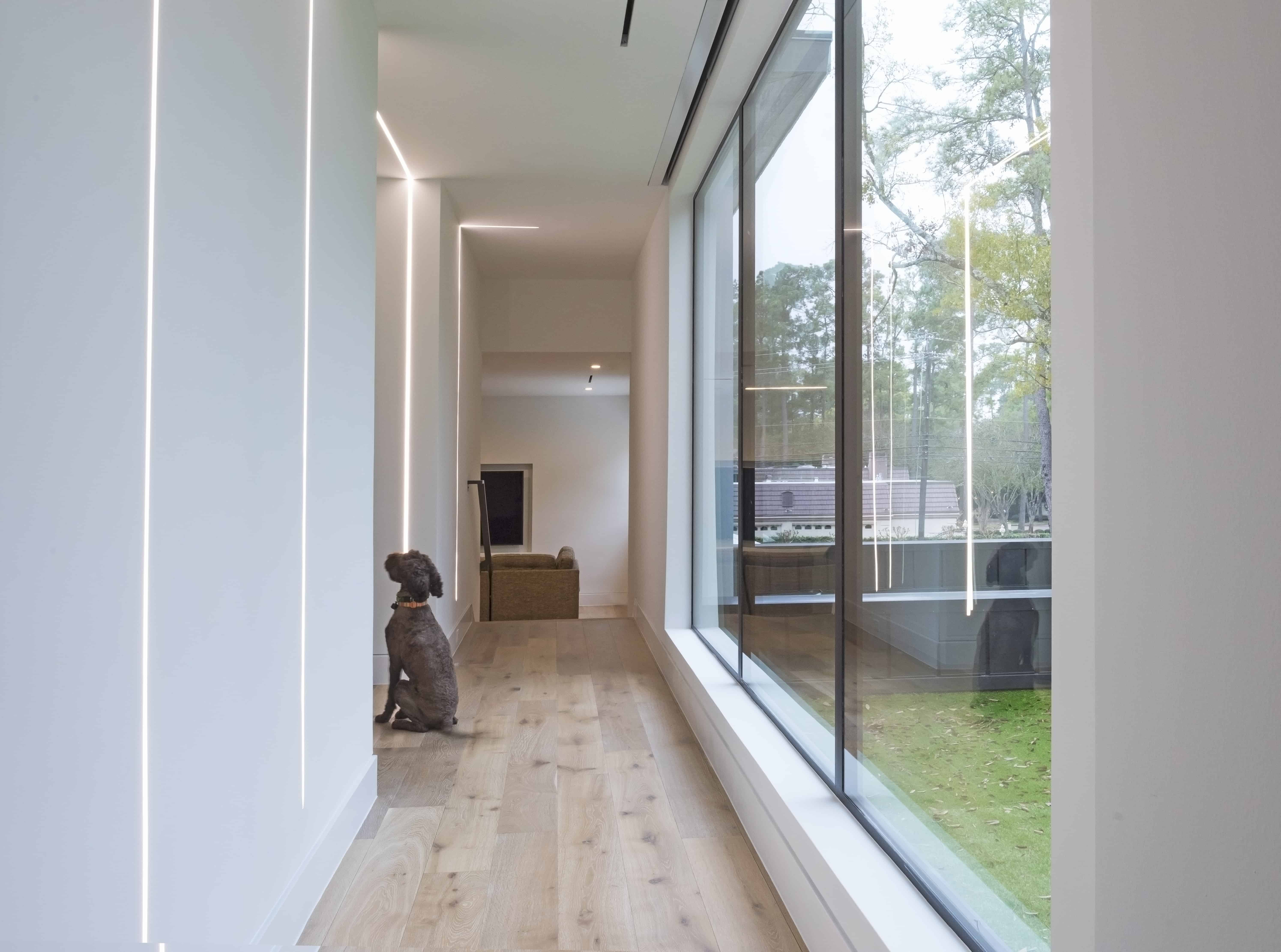Warm Modern Home Piney Point Memorial Houston gallery space.