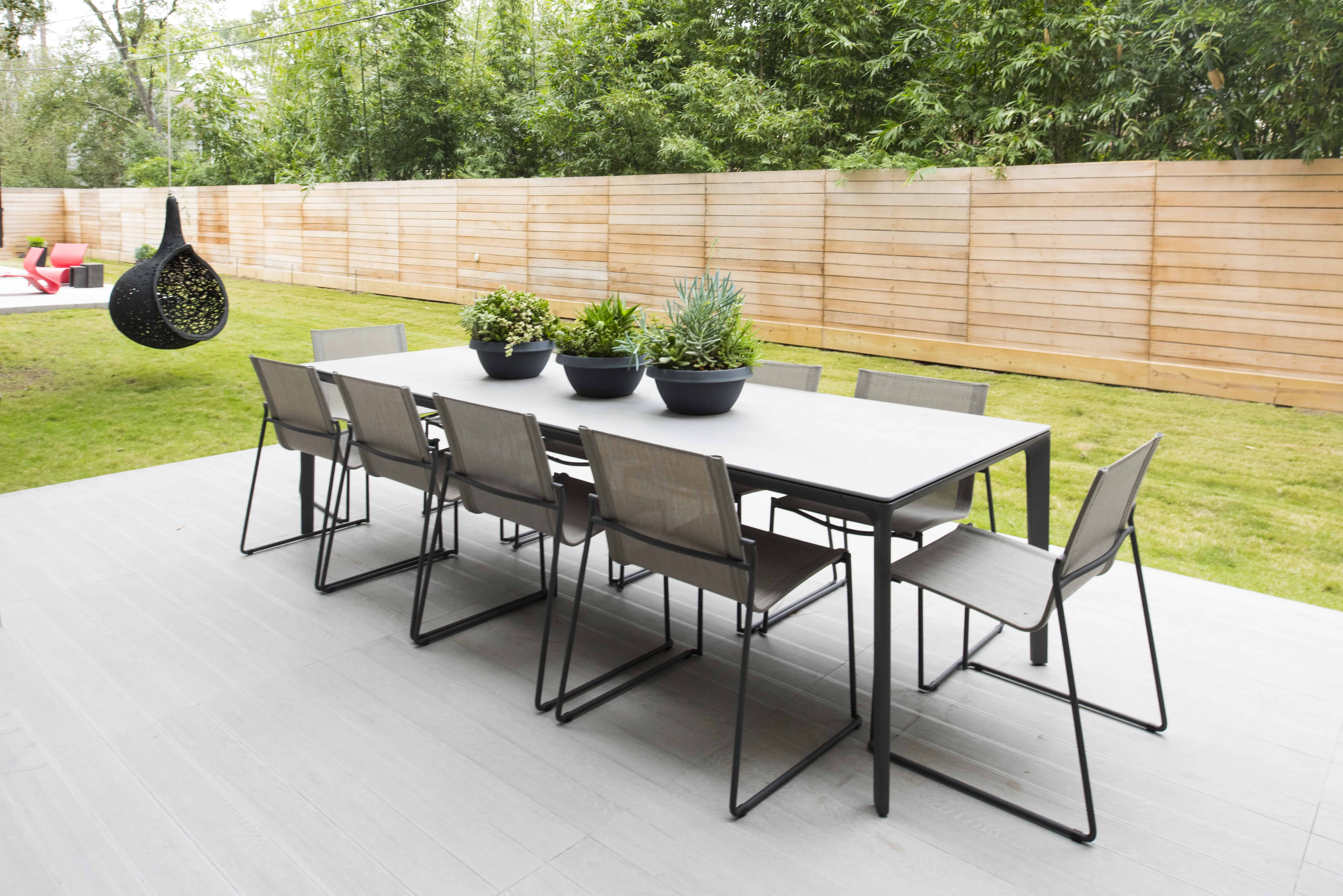 Warm Modern Home Piney Point Memorial Houston outdoor dining