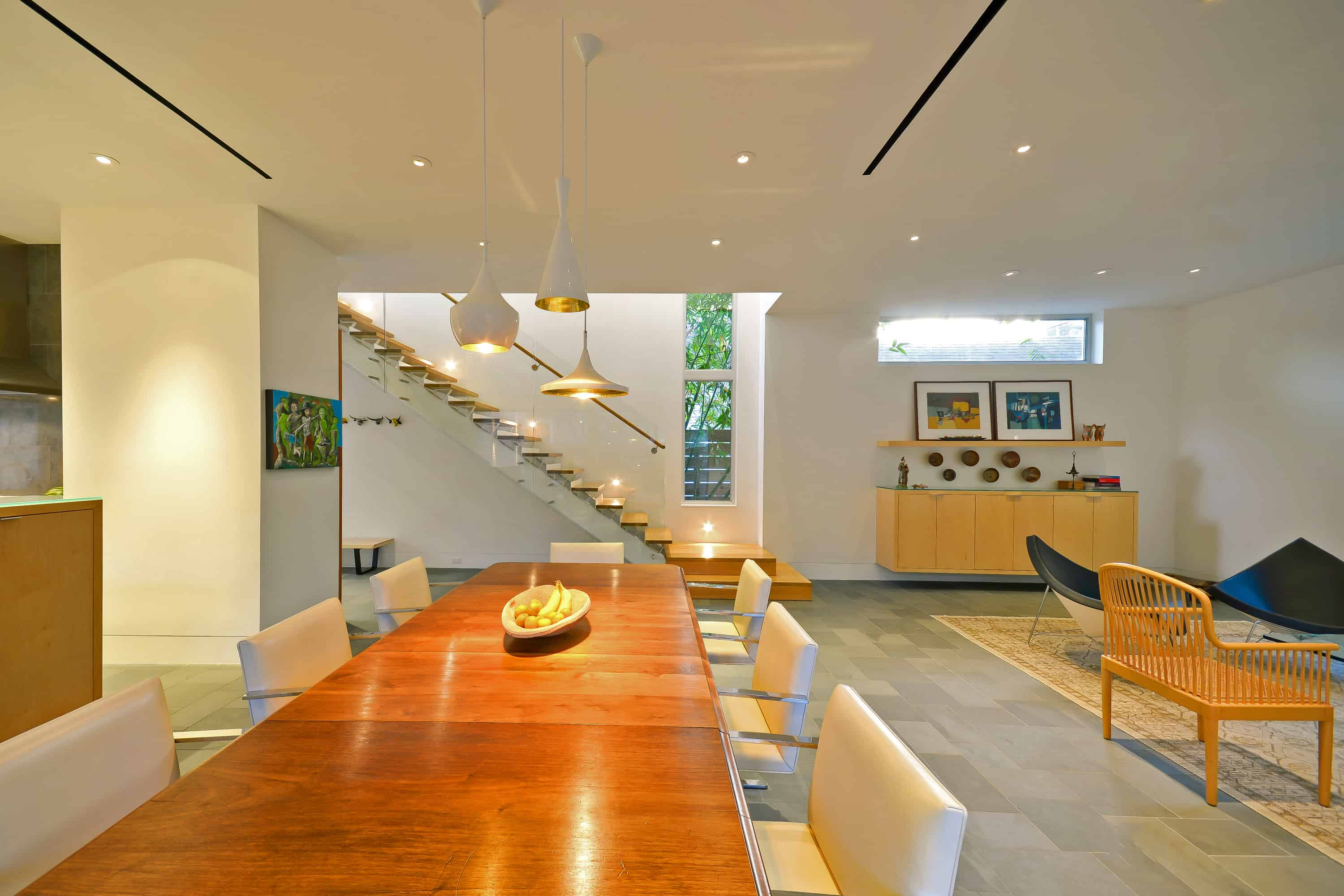 West U Modern Living Dining with glass stair