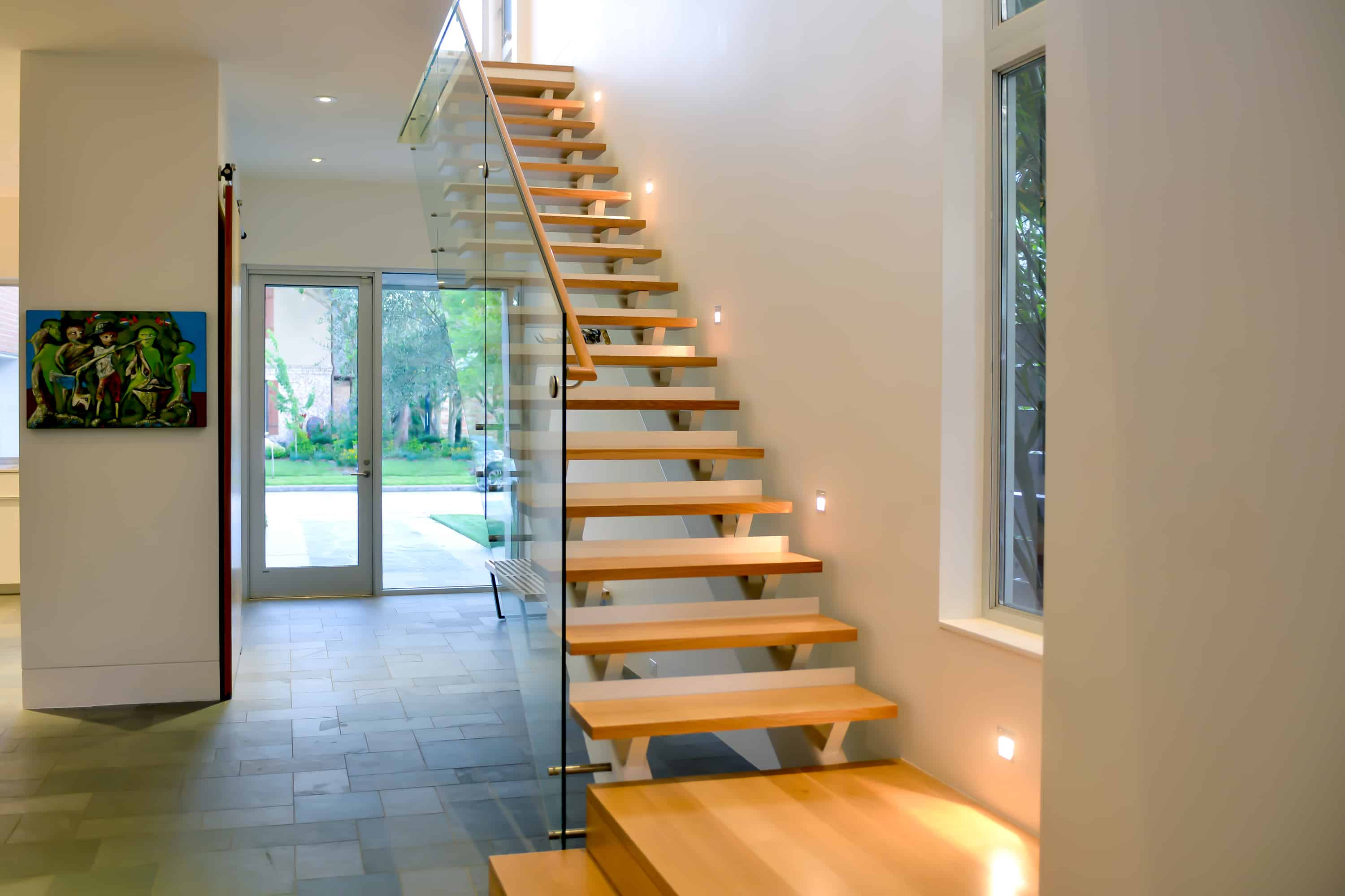 West U Modern steel and glass stair with warm wood