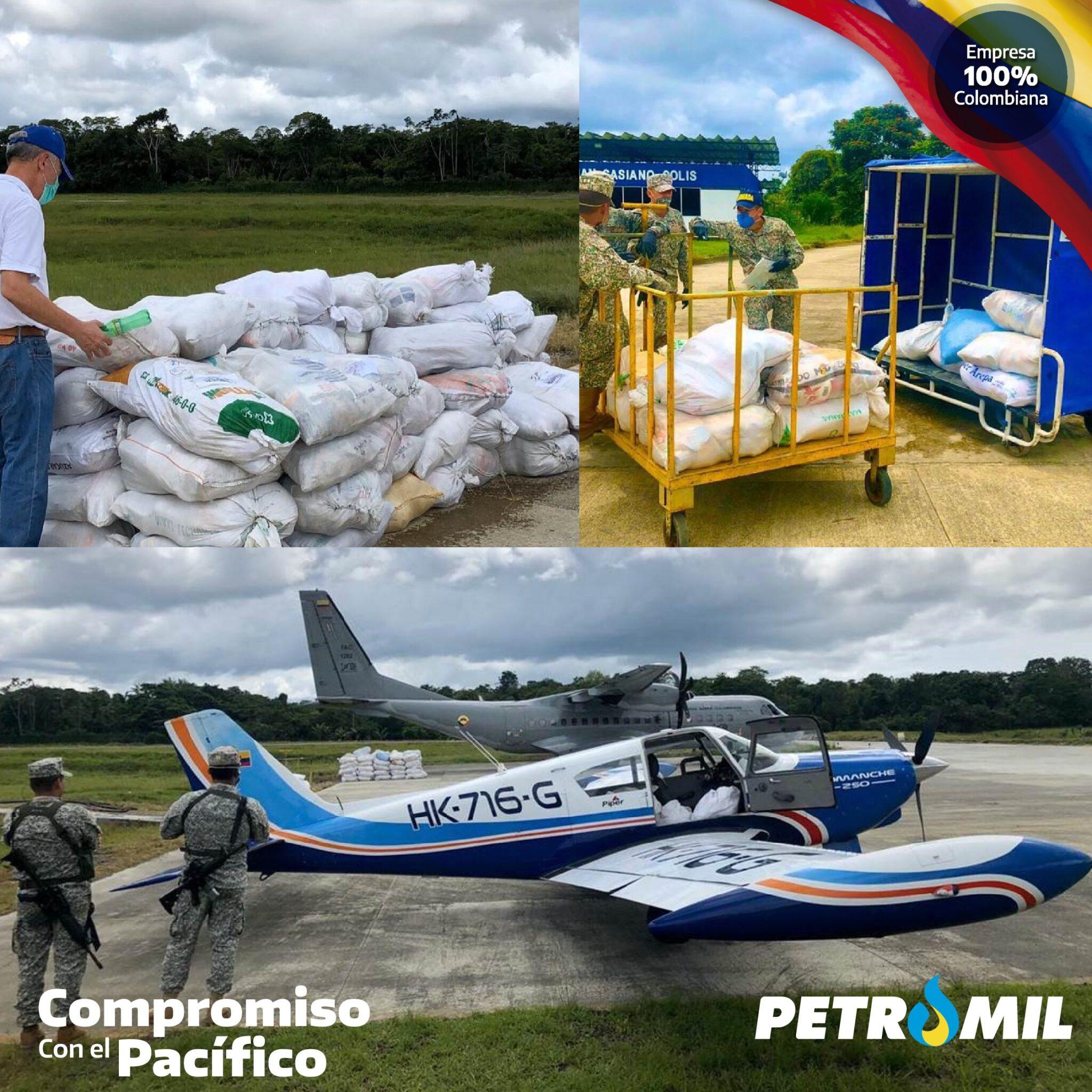 Donamos combustible a la Patrulla Aérea del Pacífico con el fin de movilizar la ayuda humanitaria entregada por la Presidencia de Colombia a la población de Timbiquí, en Cauca.