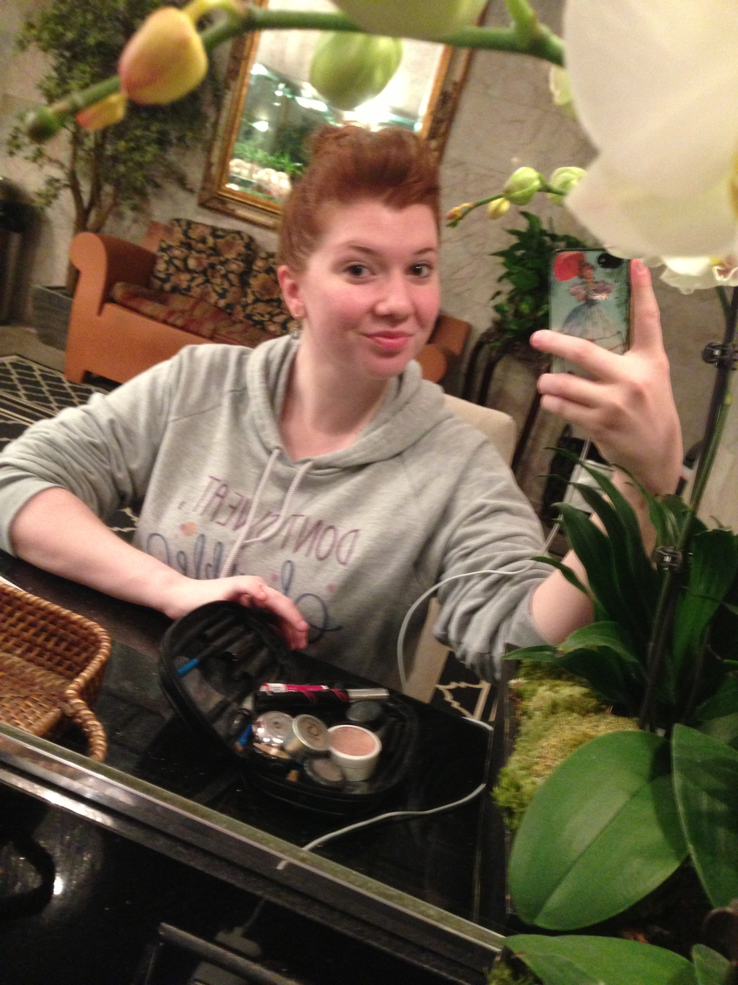 A makeupless me in the mirror in the primping parlour after my treatment. Beverly Hot Springs provides hair styling tools, q-tips, products and all kinds of fun complimentary goodies!