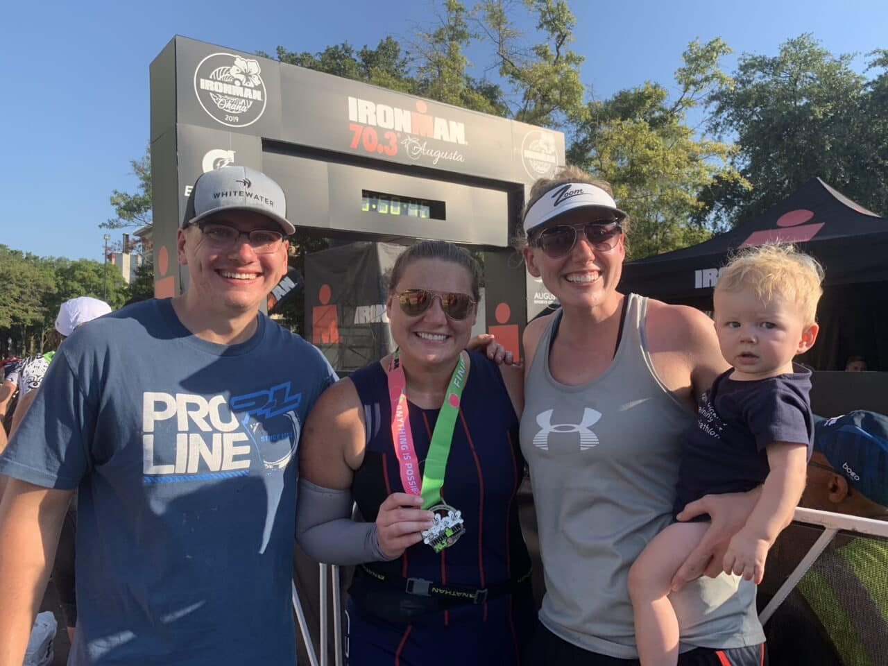 Ironman Augusta 70.3 finish line as a work-at-home mom