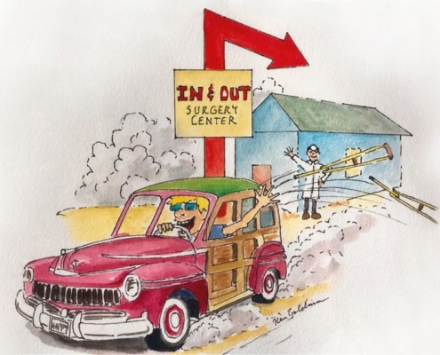 Watercolor Image of doctor waving goodbye to patient happily driving away from surgery center called In-N-out, as a play on words to resemble the high quality standards of In-N-Out Burger and the easy process of a procedure through a bundled payment surgery center.