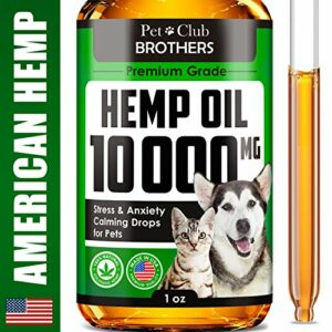 Hemp Oil for Dogs & Cats - 10000 mg - Effective Premium Formula - Grown & Made in USA - Supports Hip & Joint Health - Natural Relief for Pain and Stress, Separation Anxiety - Pet Omega 3, 6 & 9 Oil