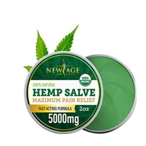 Hemp Oil Balm Salve for Pain Relief - 5000 MG by New Age - Fast Acting Natural - Knee, Muscle, Joint, Neck & Back Pain Relief - Premium Hemp Oil Made in USA - Anti Inflammatory Hemp Balm