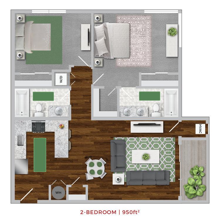 Terrace Lofts Apartments Third floor plan layout graphic