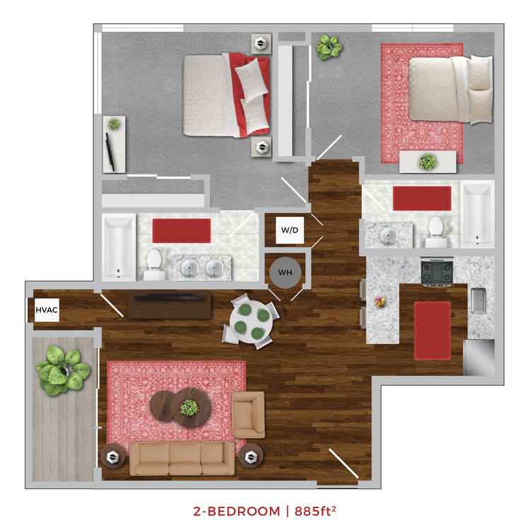 Terrace Lofts Apartments second floor plan layout graphic