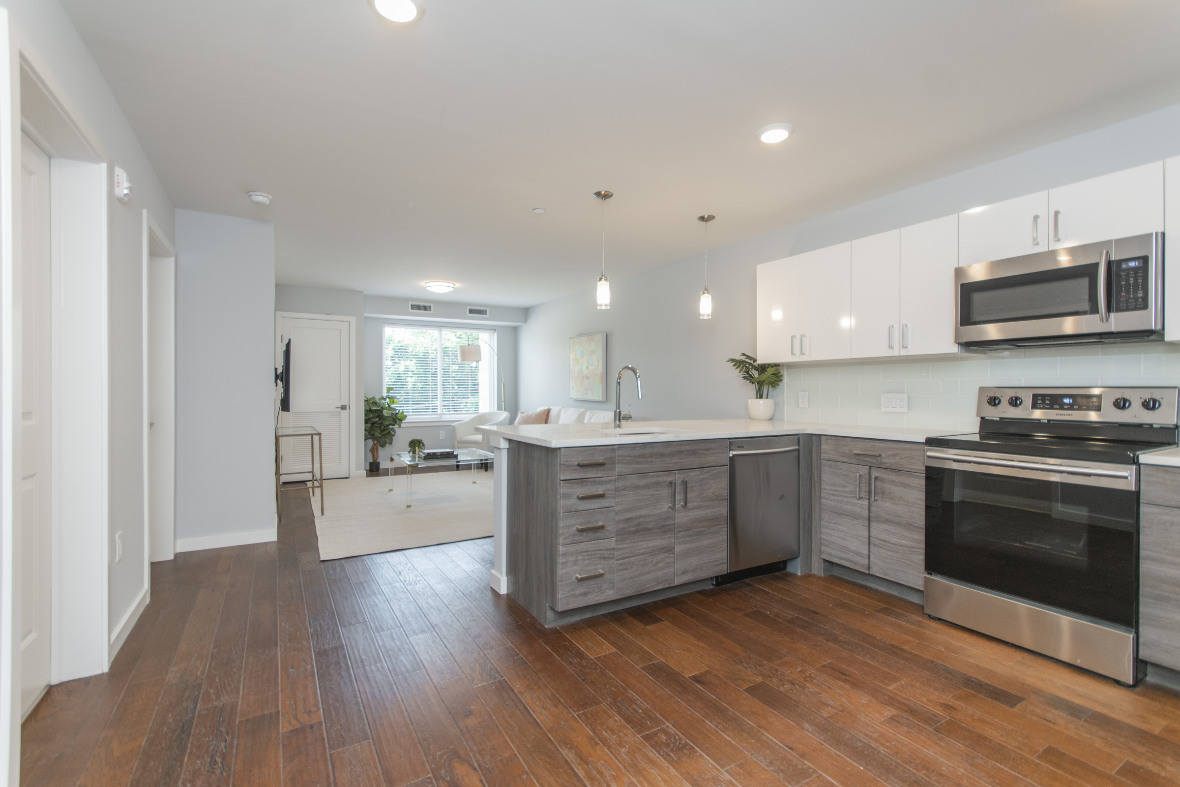 luxury kitchen and living room in manayunk pechin apartment