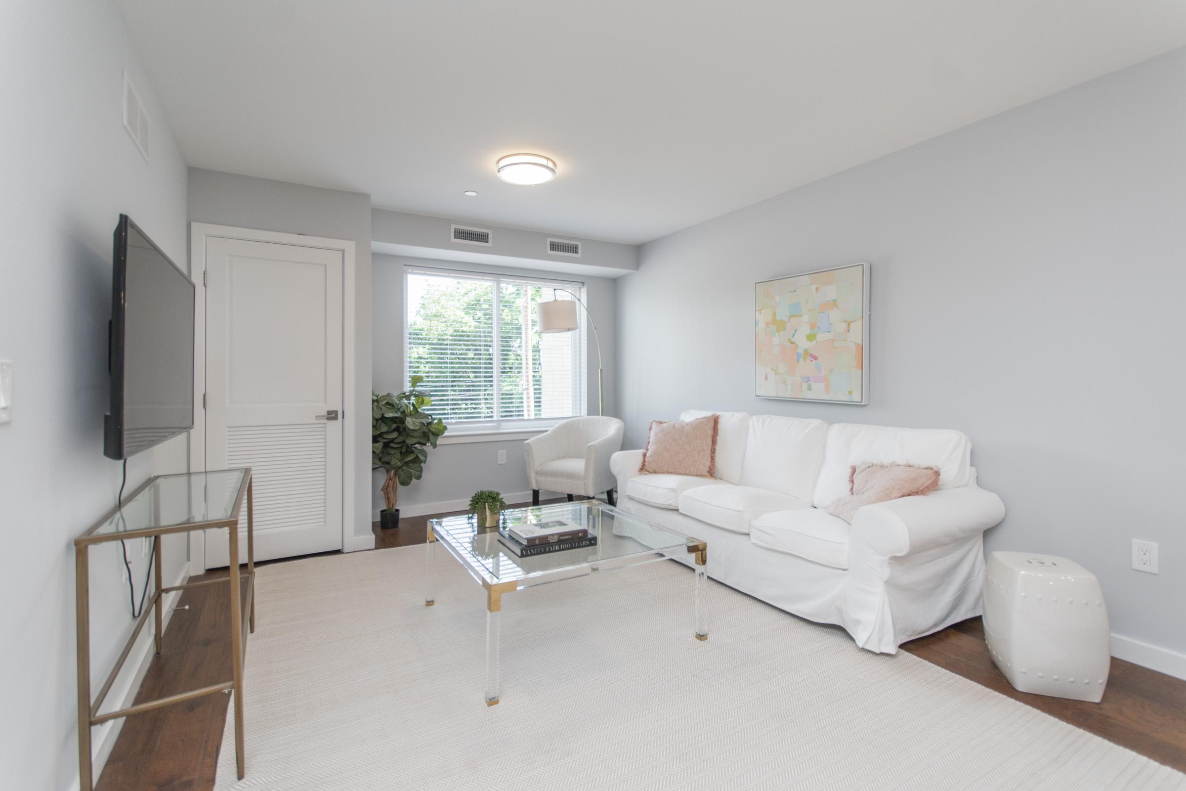 luxury living room in manayunk apartment