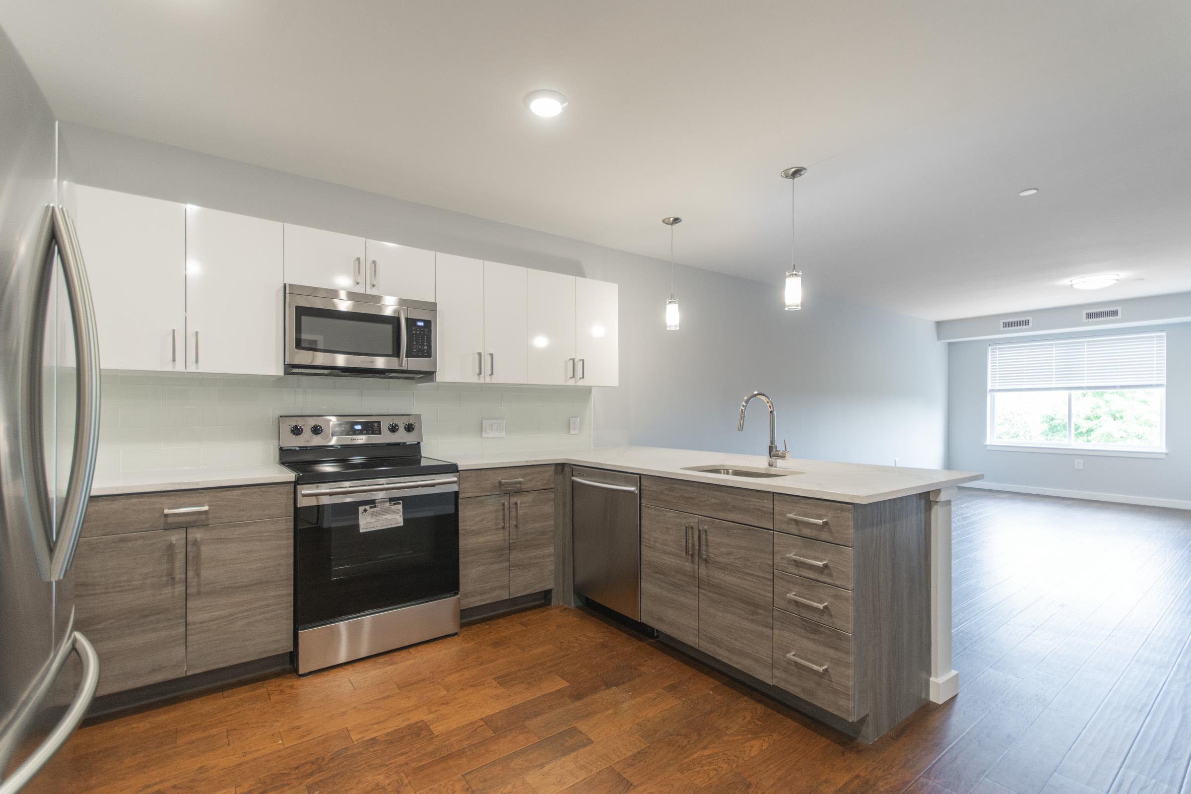 luxurious open kitchen in manayunk apartment on pechin