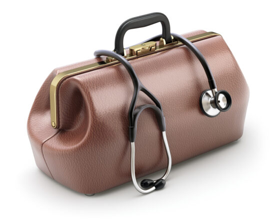 Picture of doctor's bag with stethoscope over it