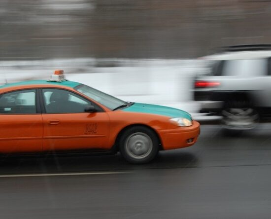 Picture of taxi in traffic