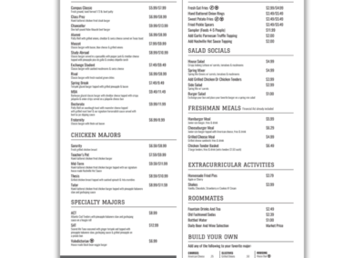 Burger University In House Menu