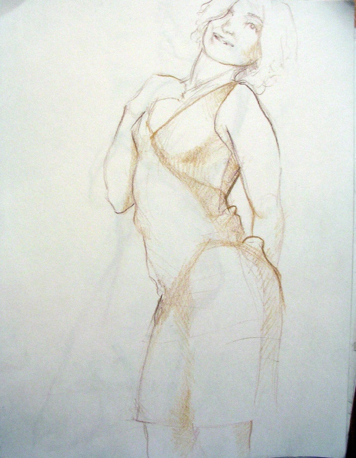 Asole portrait conte on paper
