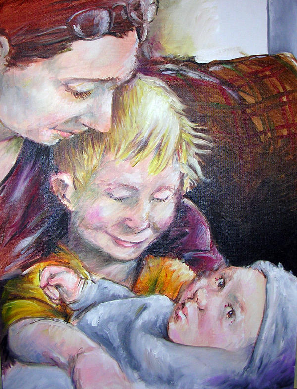 Sister and kids oil
