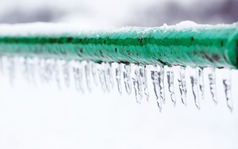 frozen pipe out in the cold