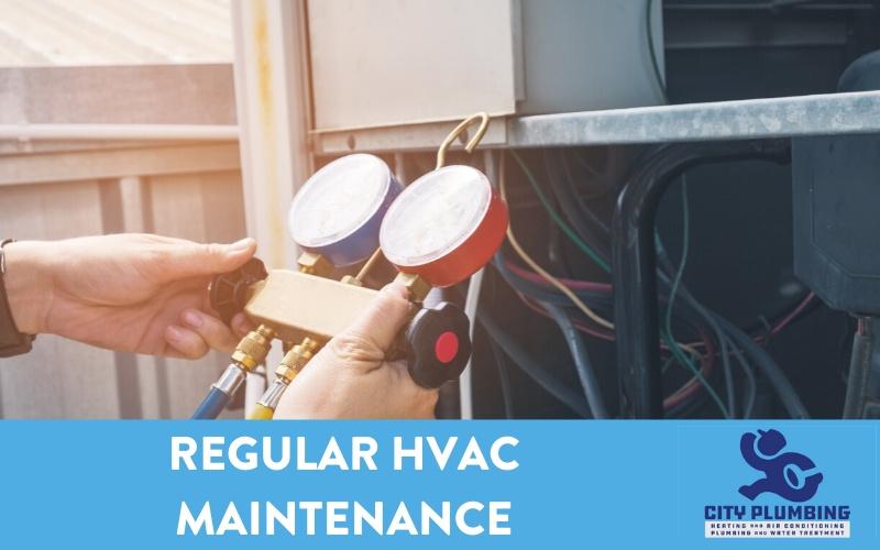 Man performing regular HVAC maintenance on air conditioner