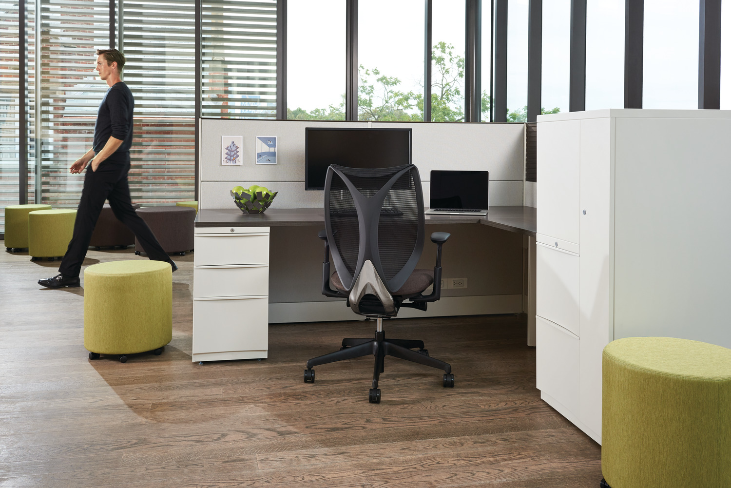 Office space with white and grey cubicle.