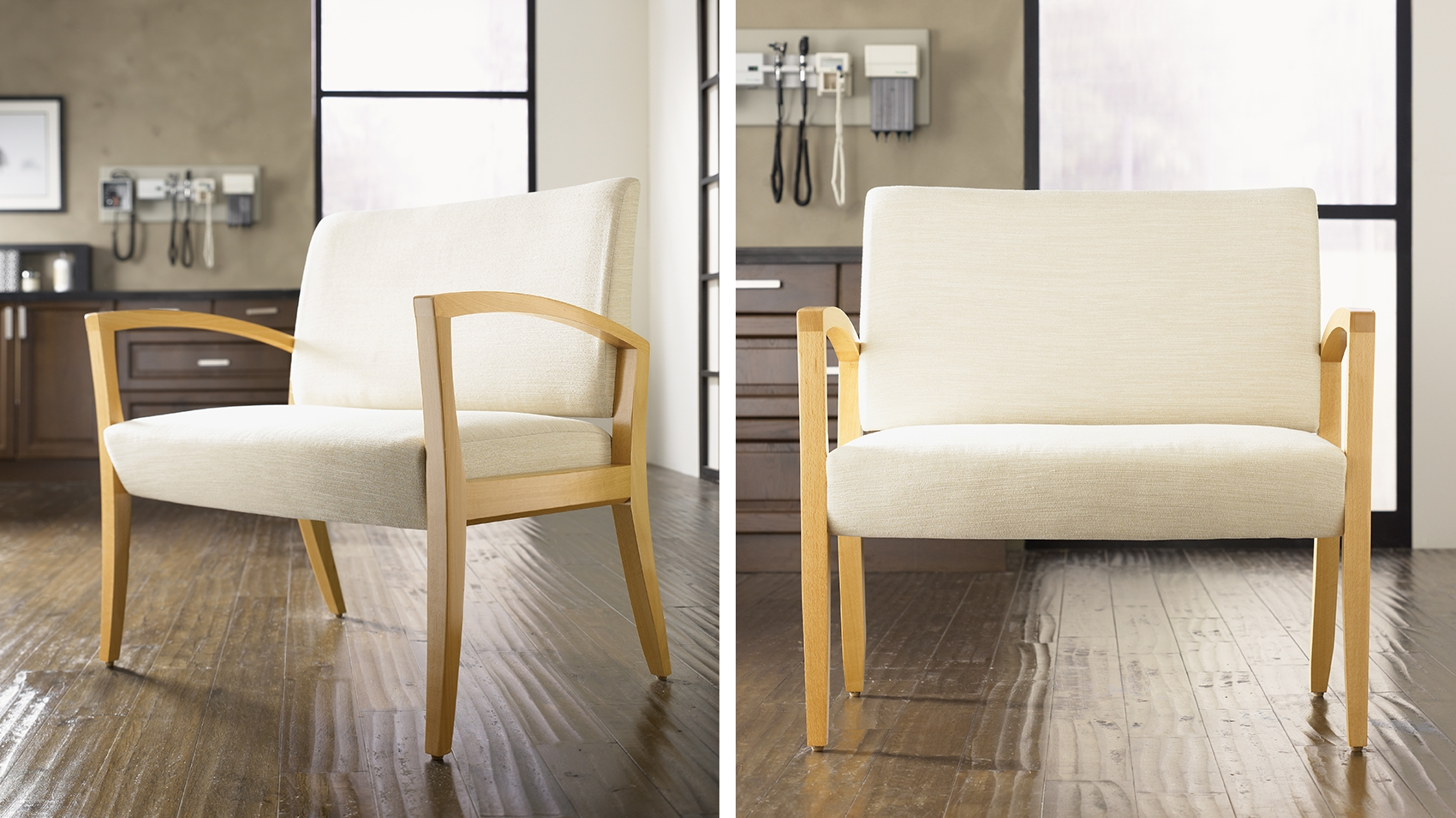 Hospital seating, wide hospital chair, white chair