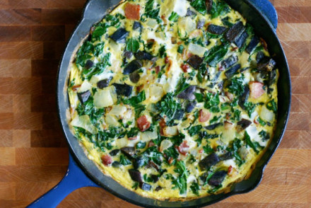 frittata with purple potatoes and kale