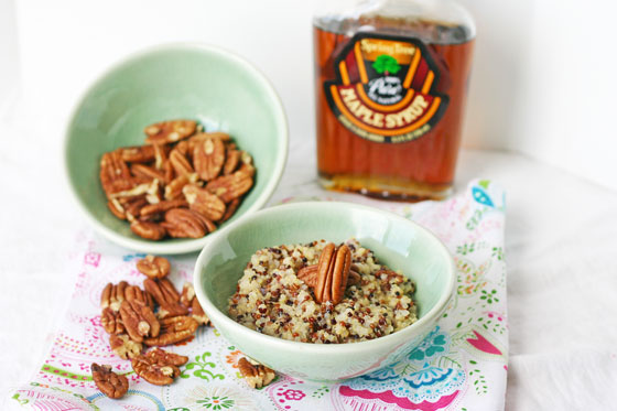 maple pecan coconut quinoa breakfast cereal gluten free
